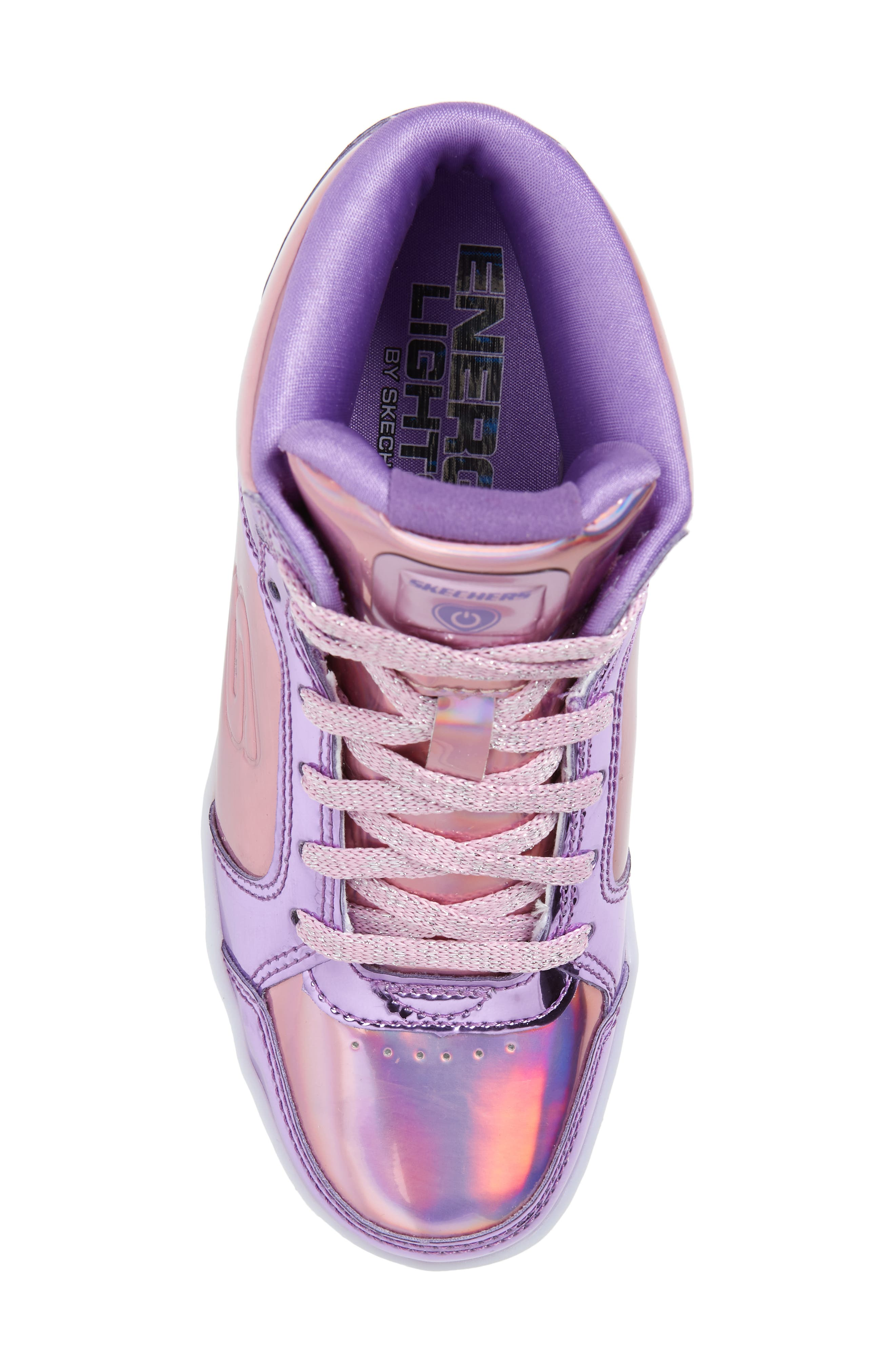 SKECHERS,                             Energy Lights Metallic High Top Sneaker,                             Alternate thumbnail 5, color,                             650