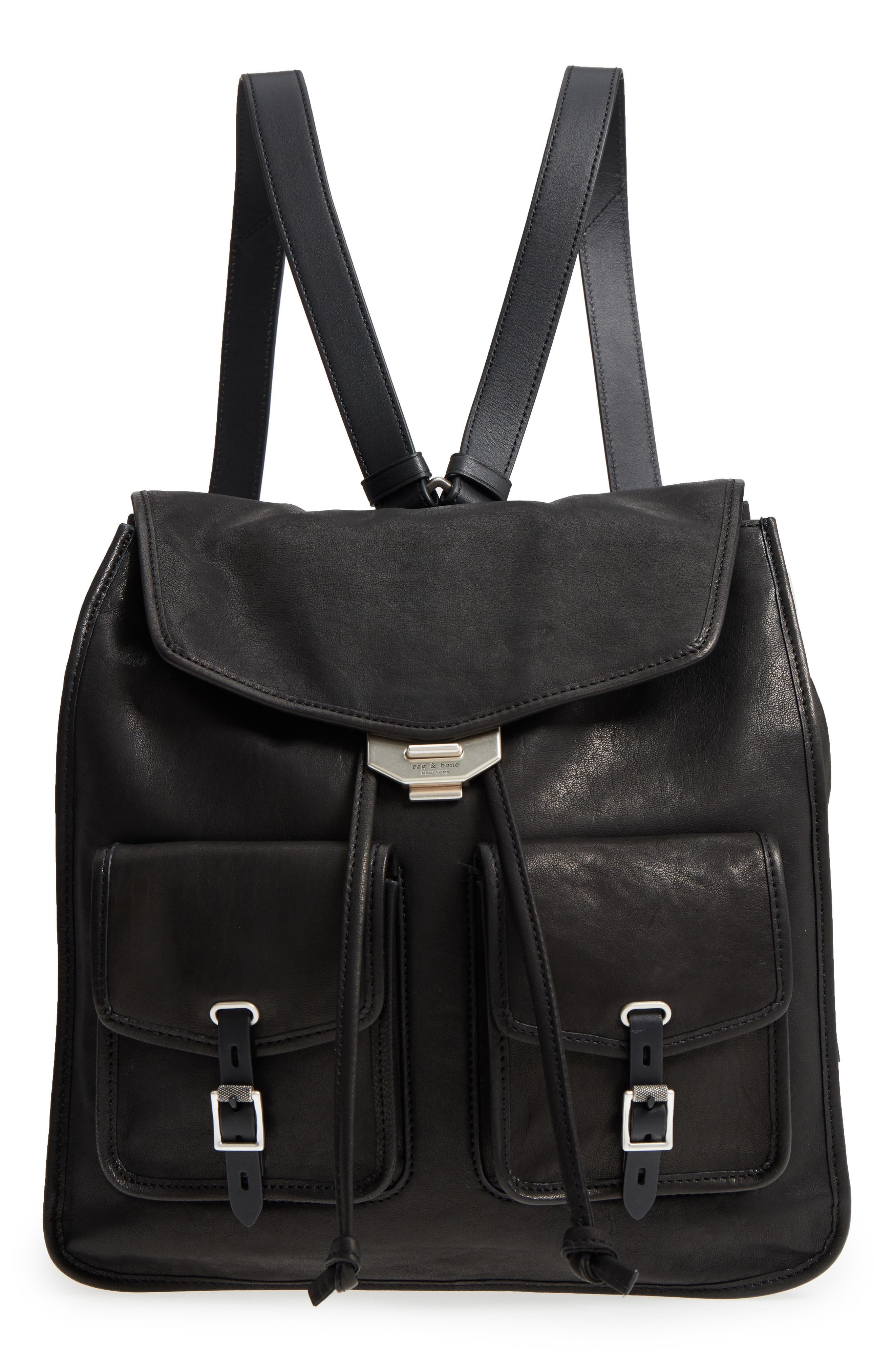 Field Lambskin Leather Backpack,                         Main,                         color, BLACK