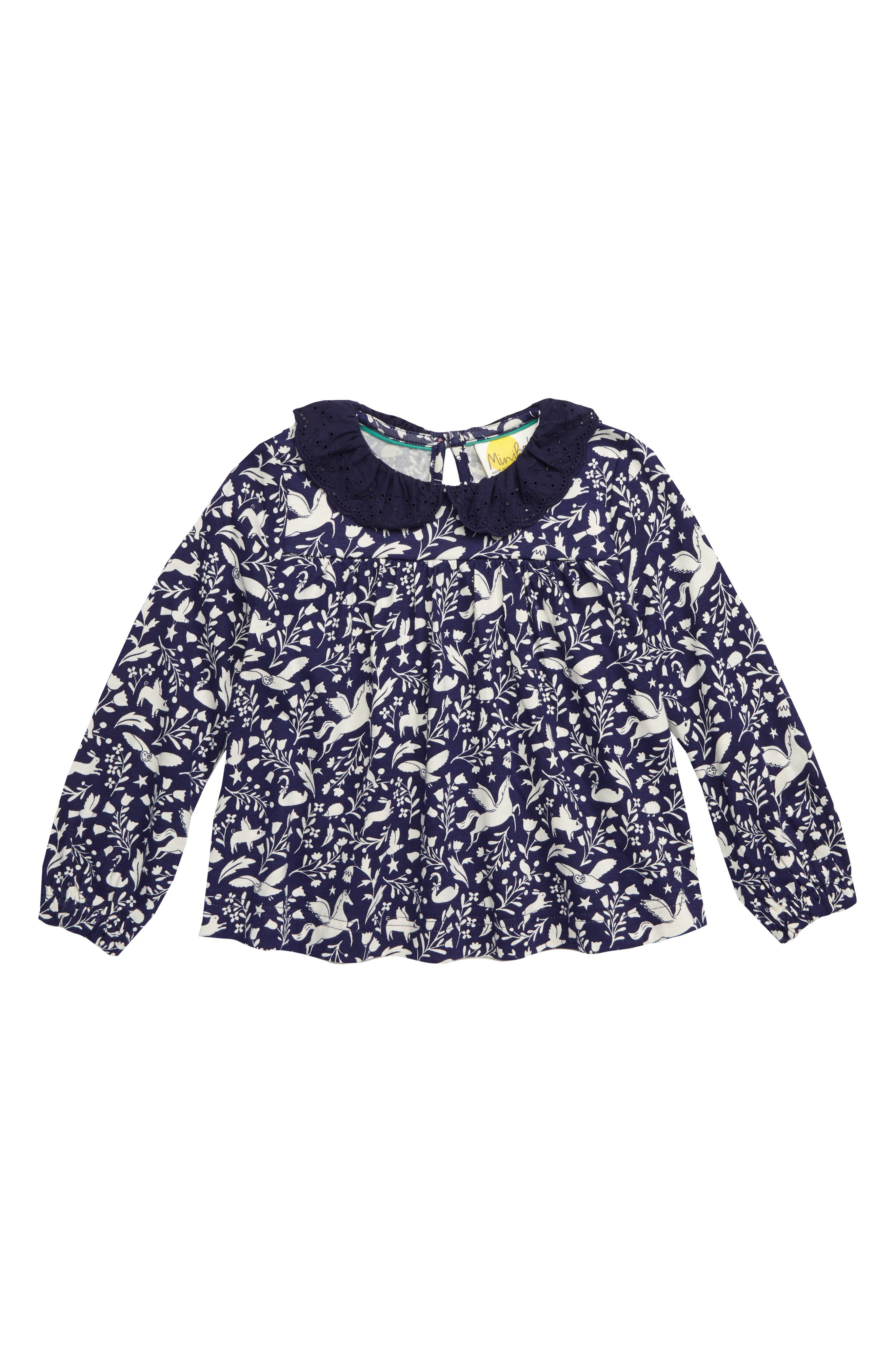 Broderie Collar Top,                             Main thumbnail 1, color,                             NAVY PRUSSIAN BLUE PEC PETS