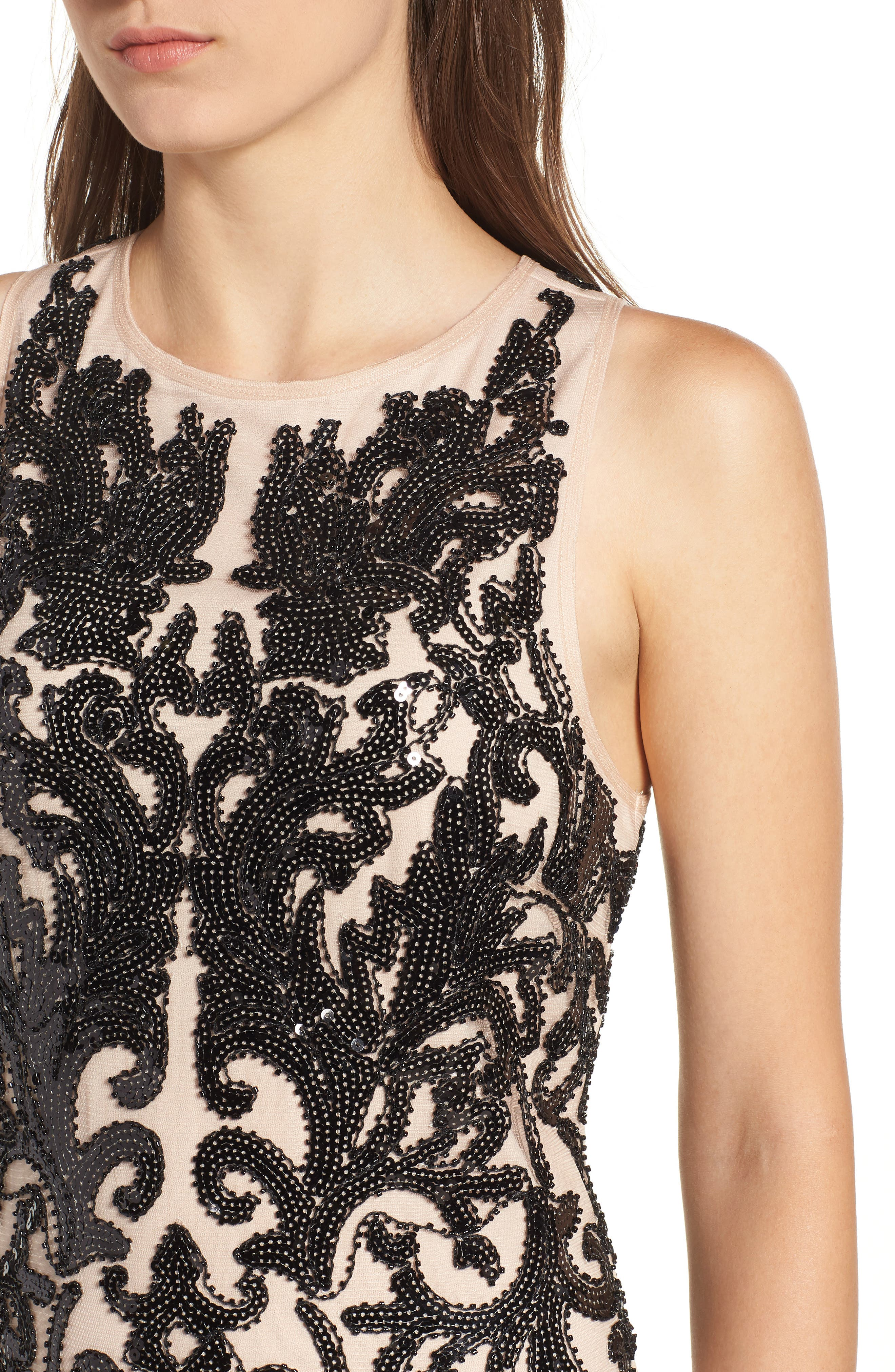 Sequin Embellished Dress,                             Alternate thumbnail 4, color,                             BLACK