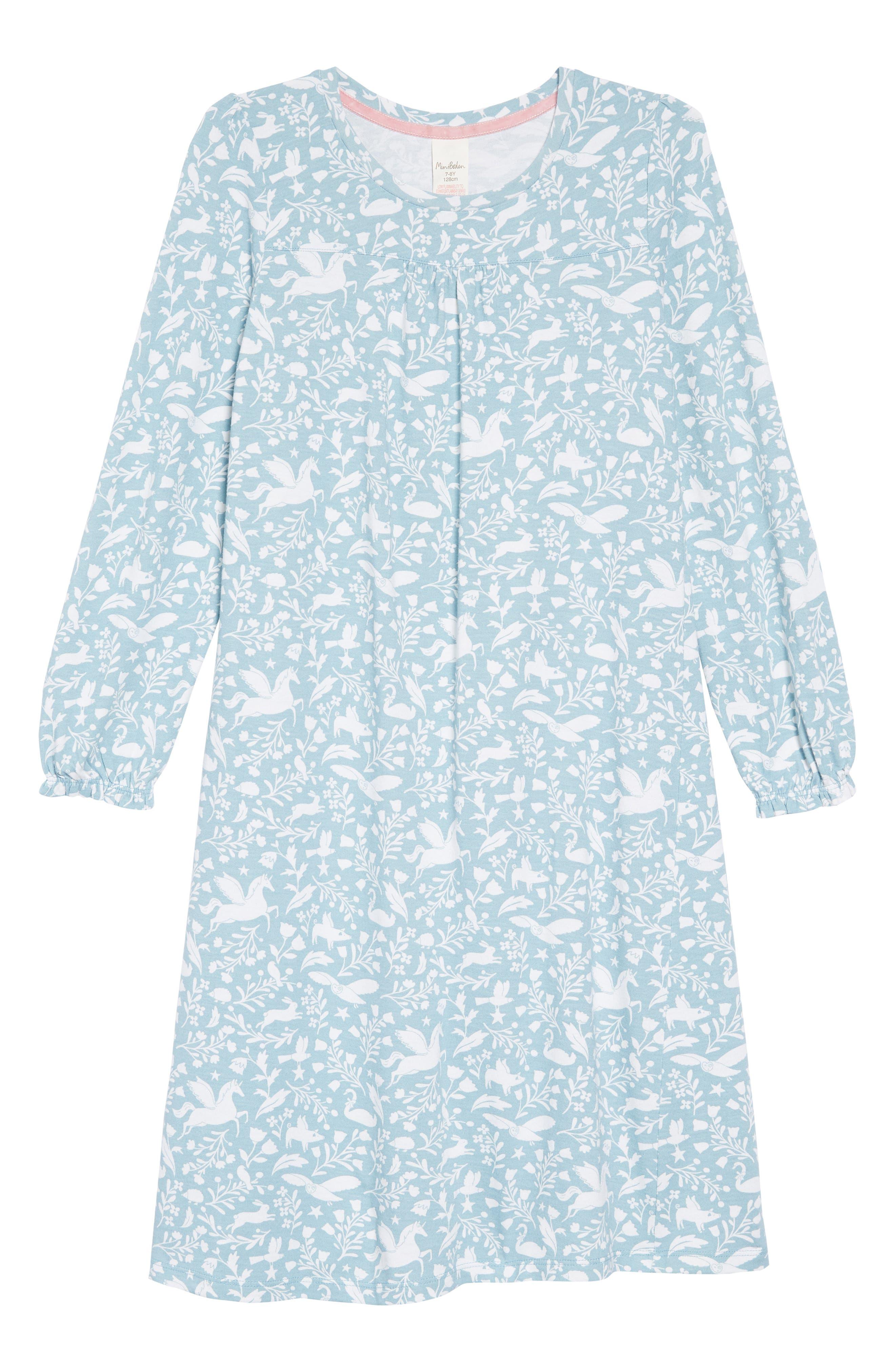 Print Nightgown,                             Main thumbnail 1, color,                             BLU ICE BLUE PECULIA