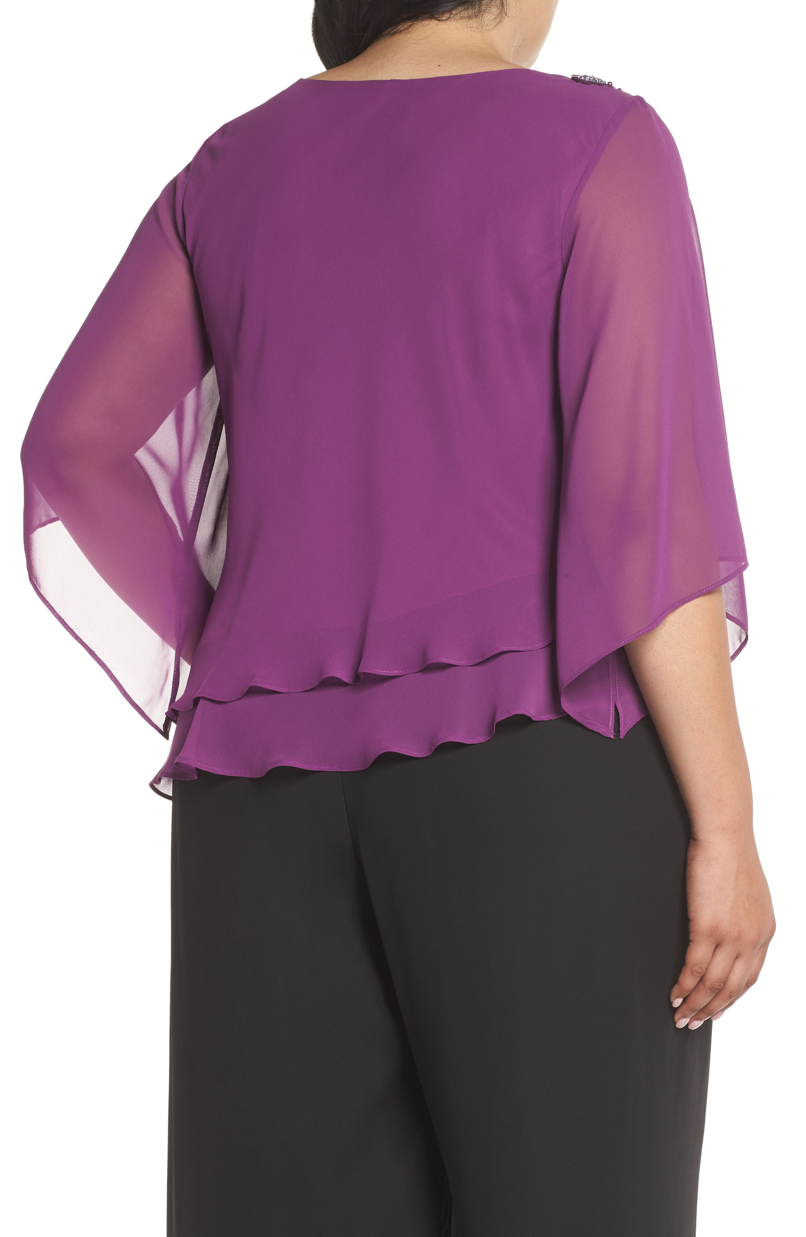 Embellished Tiered Chiffon Top,                             Alternate thumbnail 2, color,                             VINTAGE PLUM