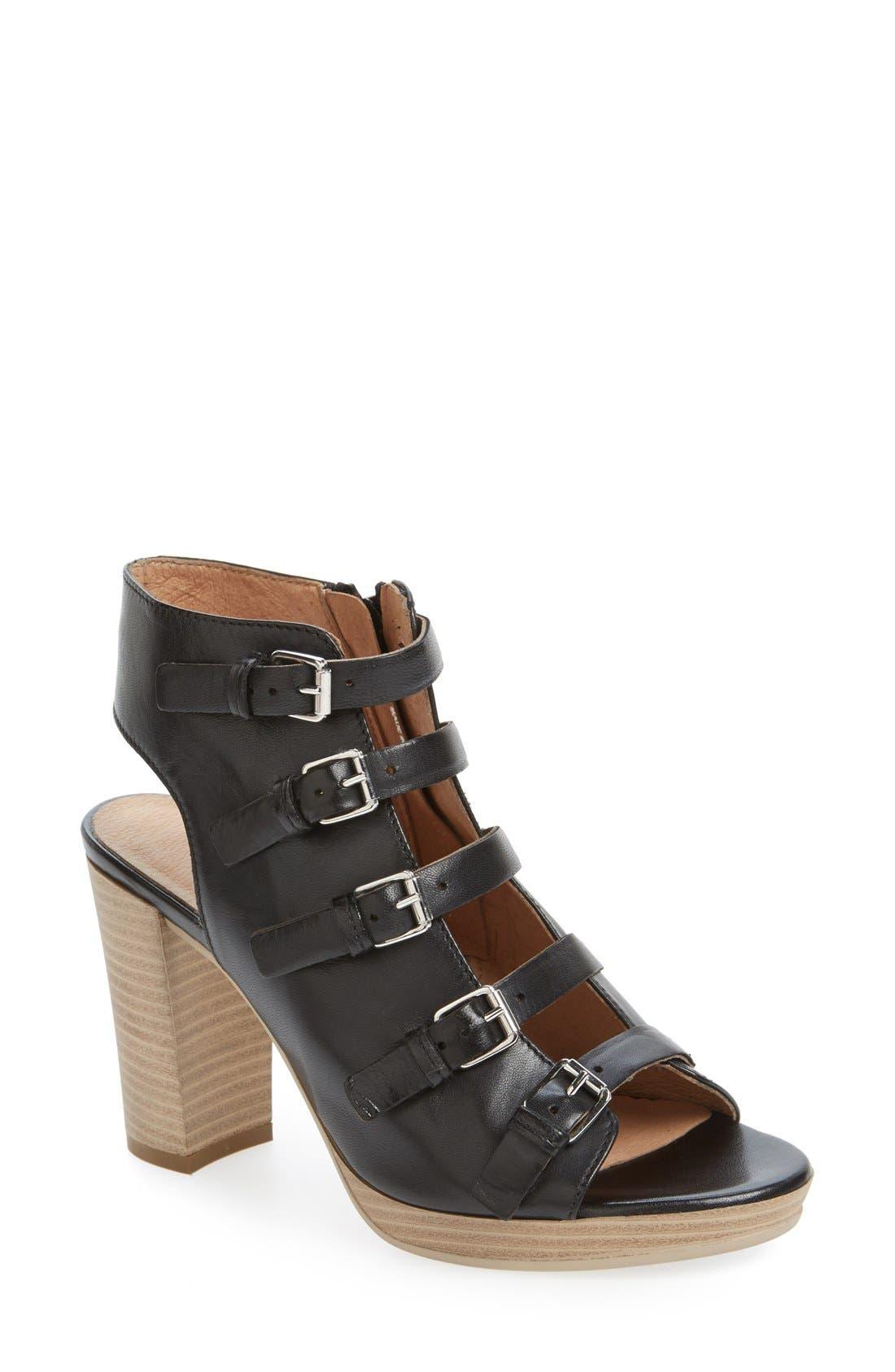 'Kennedy' Buckle Strap Block Heel Sandal,                         Main,                         color, 001