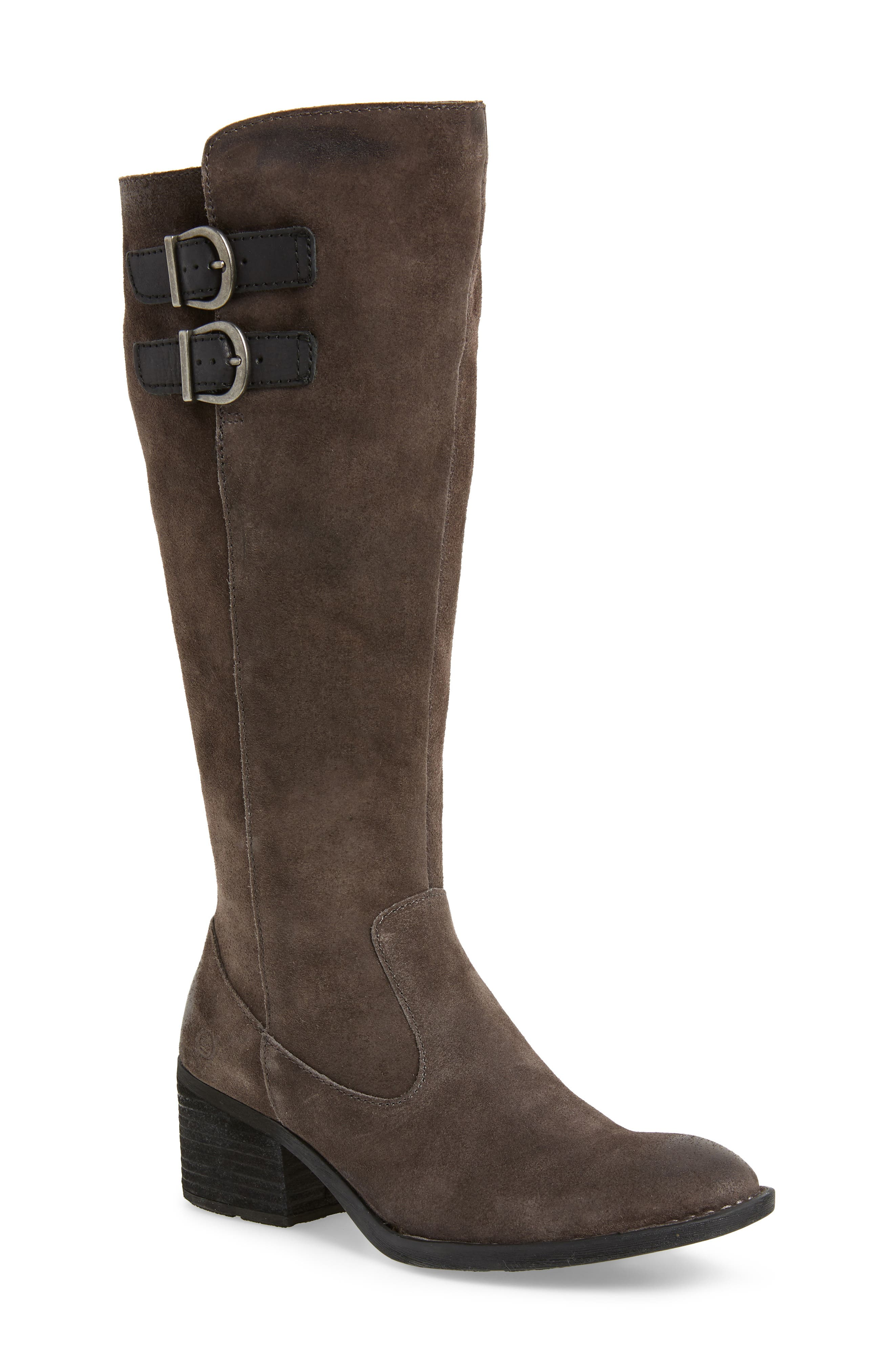 B?rn Basil Knee High Boot, Wide Calf- Grey