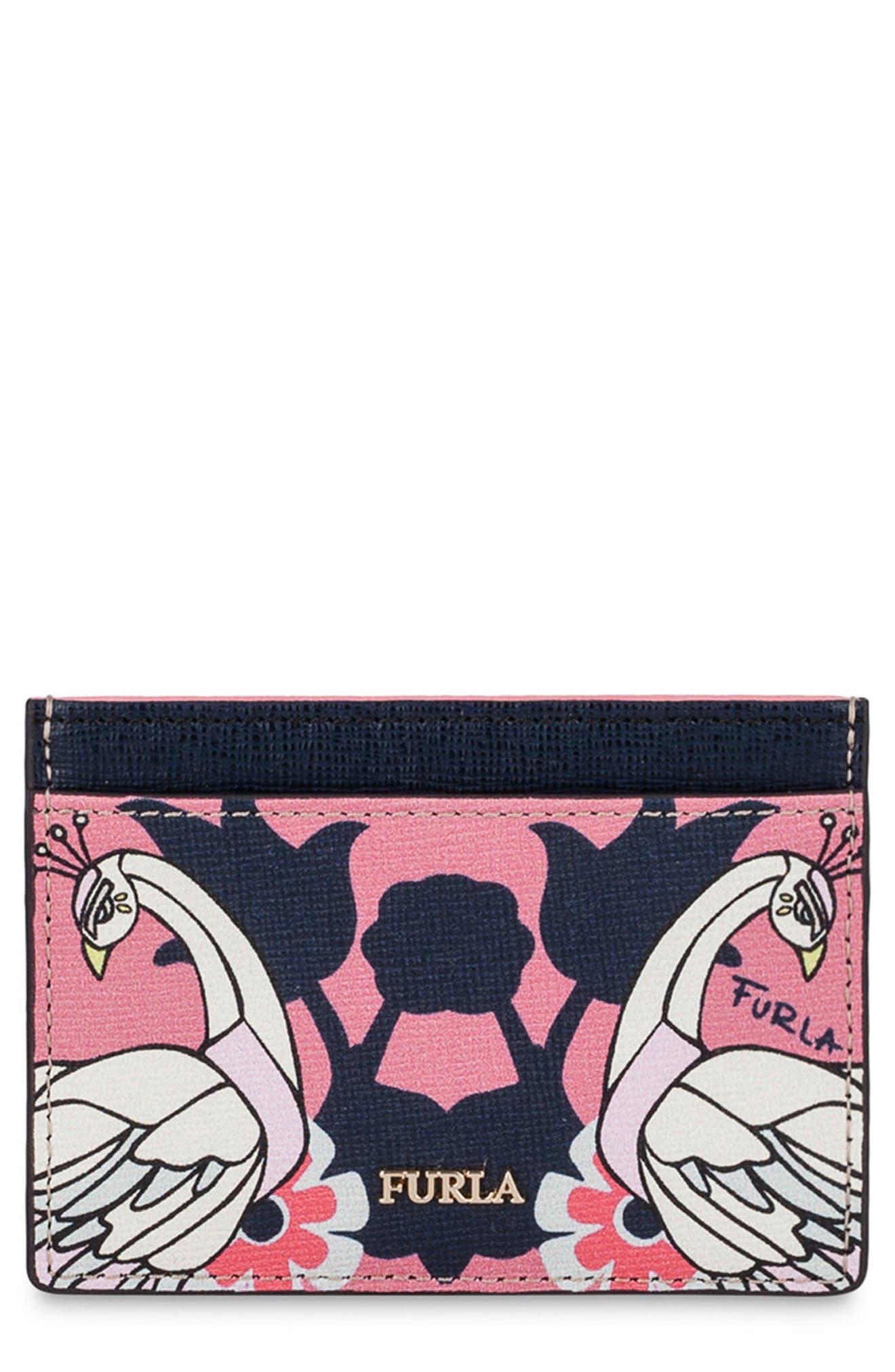 Babylon Saffiano Leather Card Case,                             Main thumbnail 3, color,
