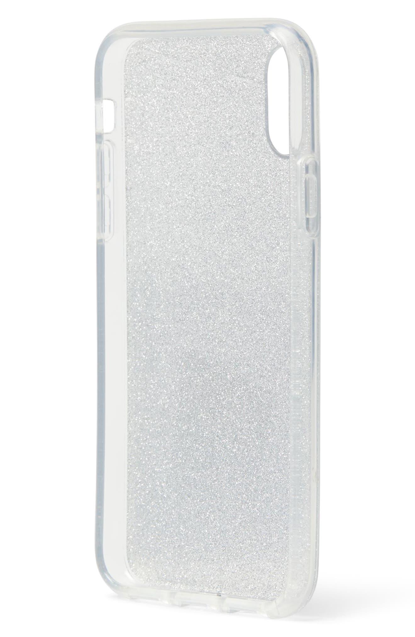 glitter ombré iPhone X/Xs/Xs Max & XR case,                             Alternate thumbnail 2, color,                             SILVER