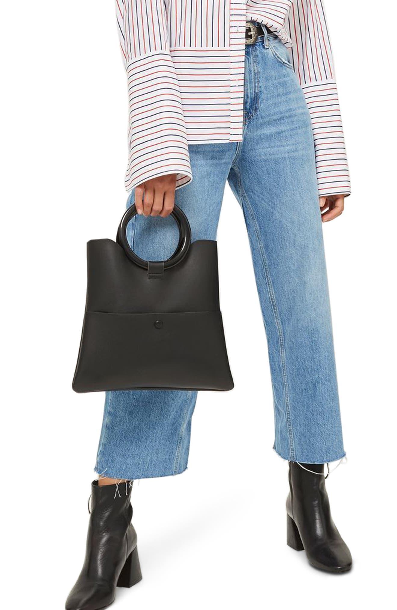 Crop Wide Leg Jeans,                         Main,                         color, MID BLUE
