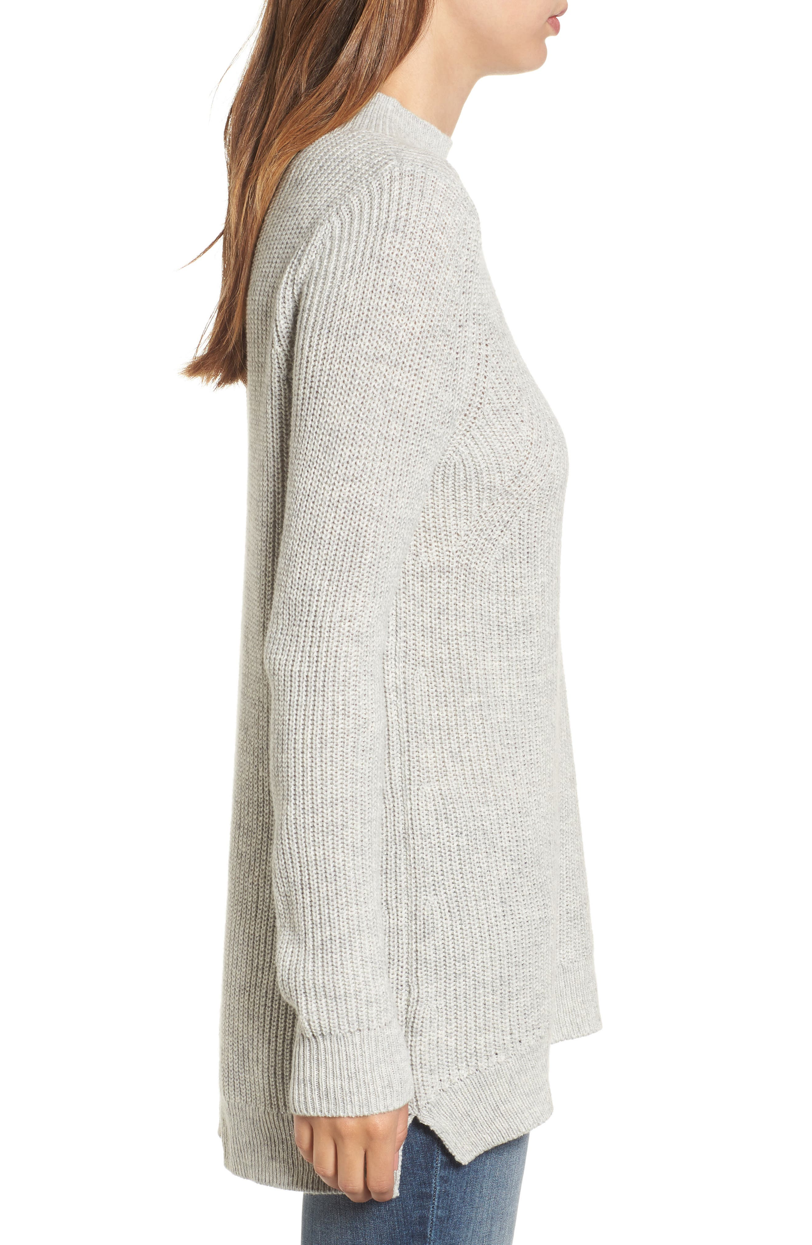 Mock Neck Tunic Sweater,                             Alternate thumbnail 17, color,