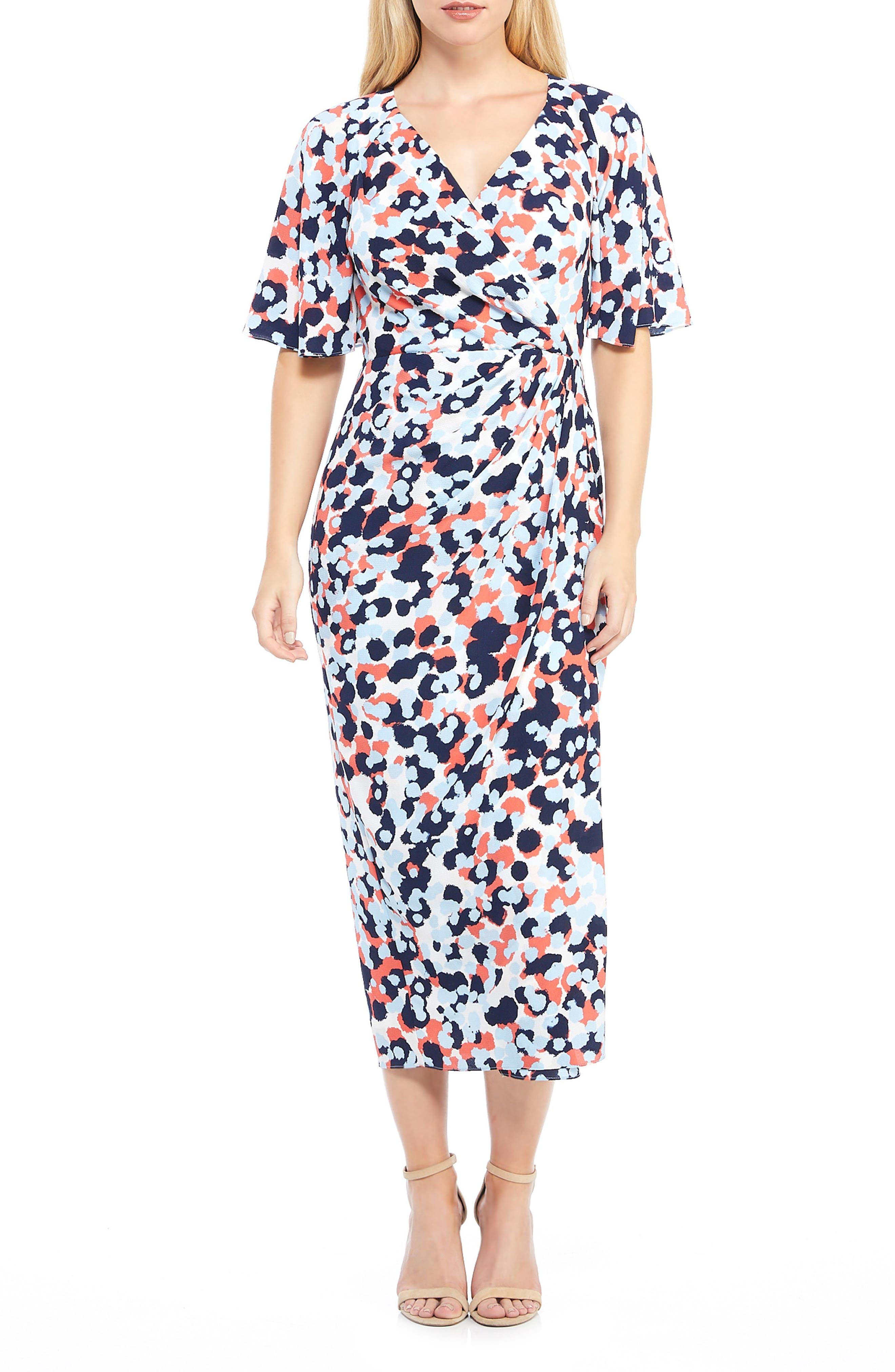 Maggy London Laurel Faux Wrap Maxi Dress, Blue