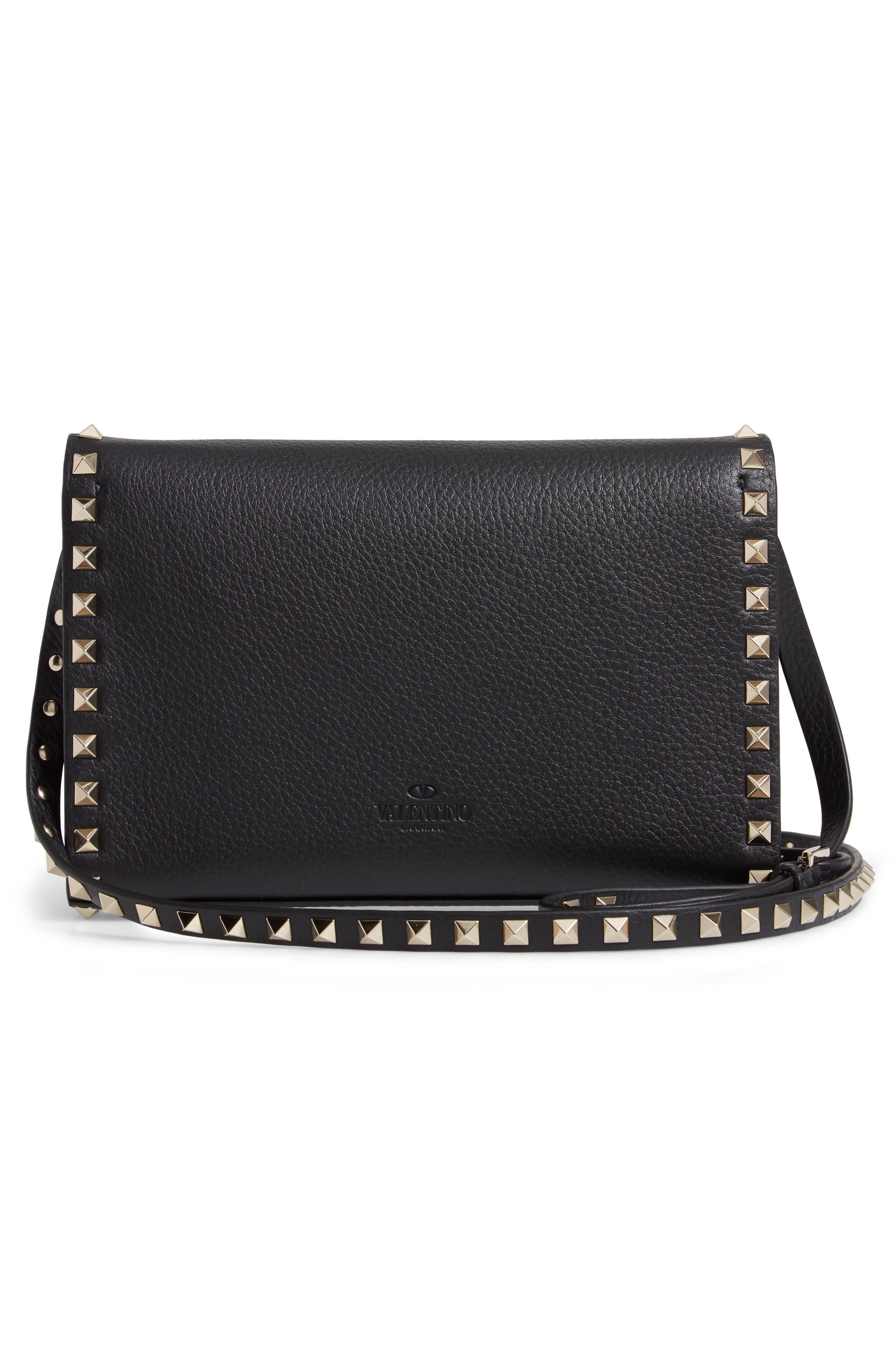Medium Rockstud Leather Crossbody Bag,                             Alternate thumbnail 3, color,                             BLACK