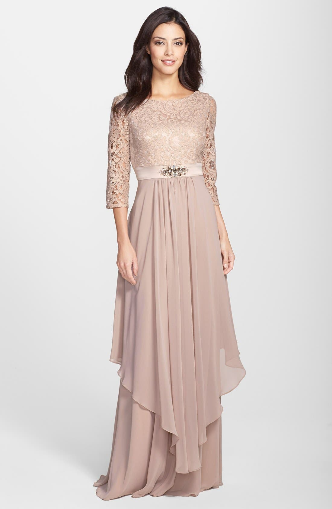 Embellished Lace & Chiffon Gown,                             Main thumbnail 1, color,                             256