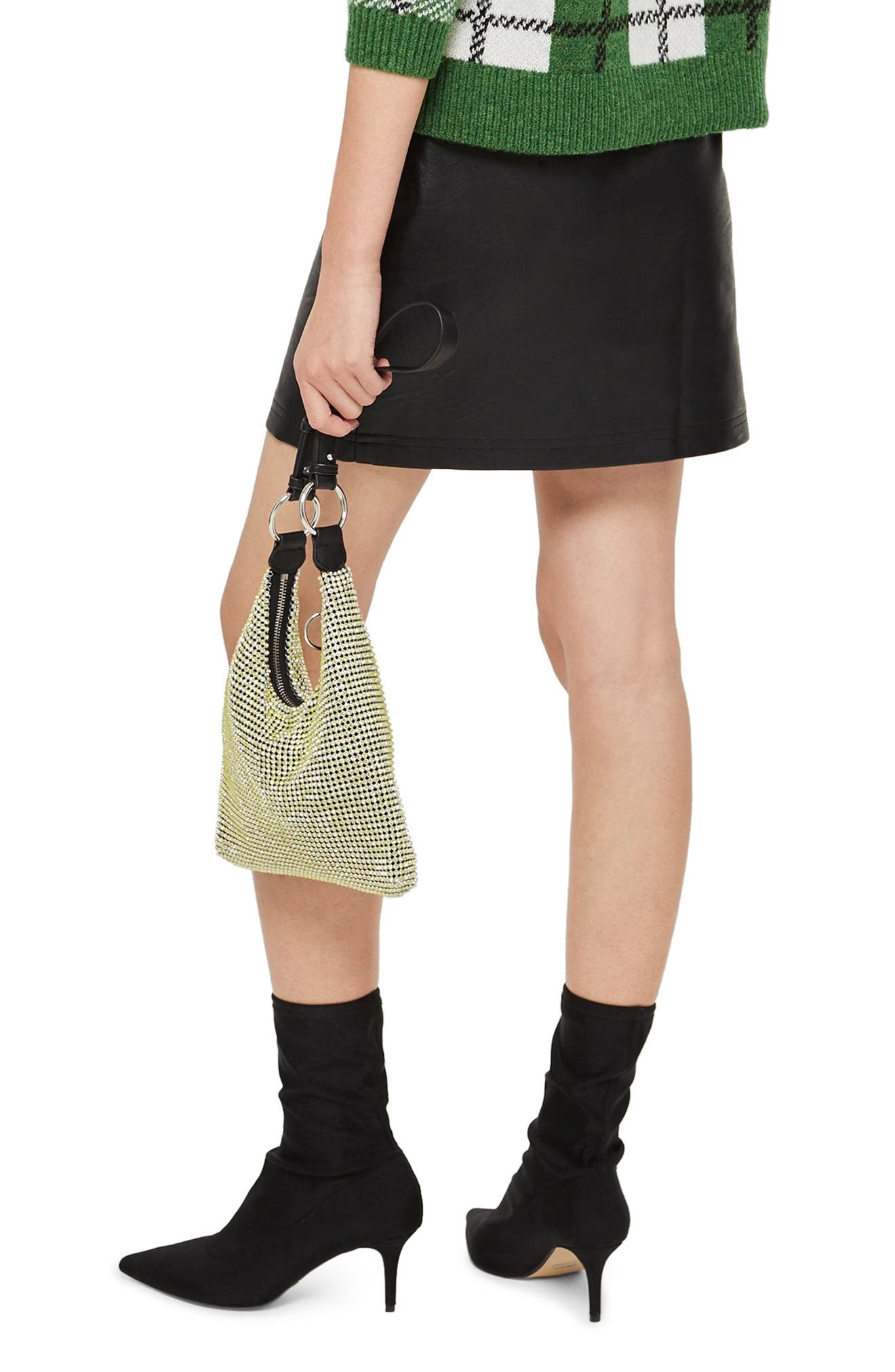 TOPSHOP,                             Penelope Faux Leather Miniskirt,                             Alternate thumbnail 2, color,                             BLACK