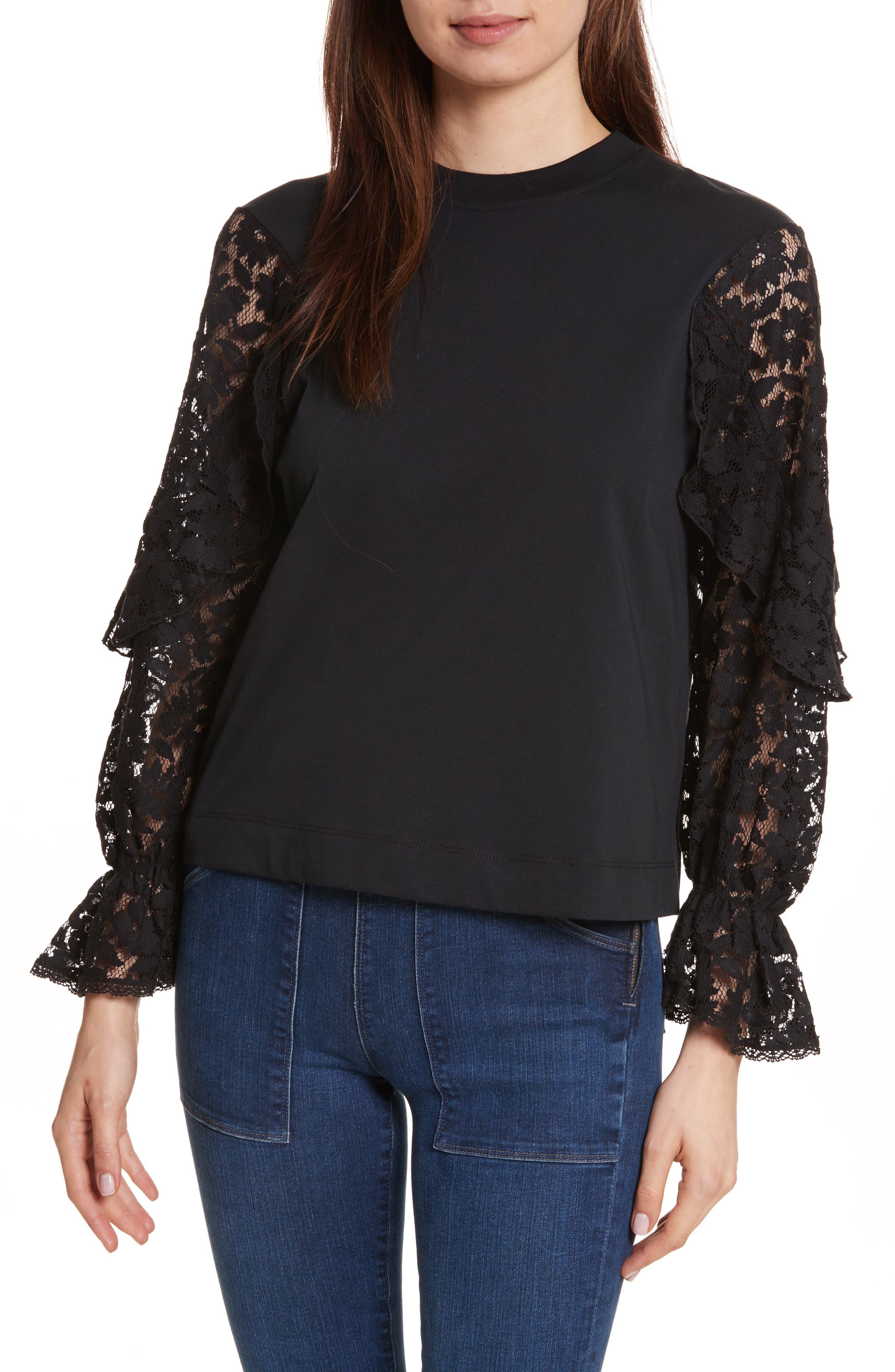 Ruffle Sleeve Sweater, Main, color, 001