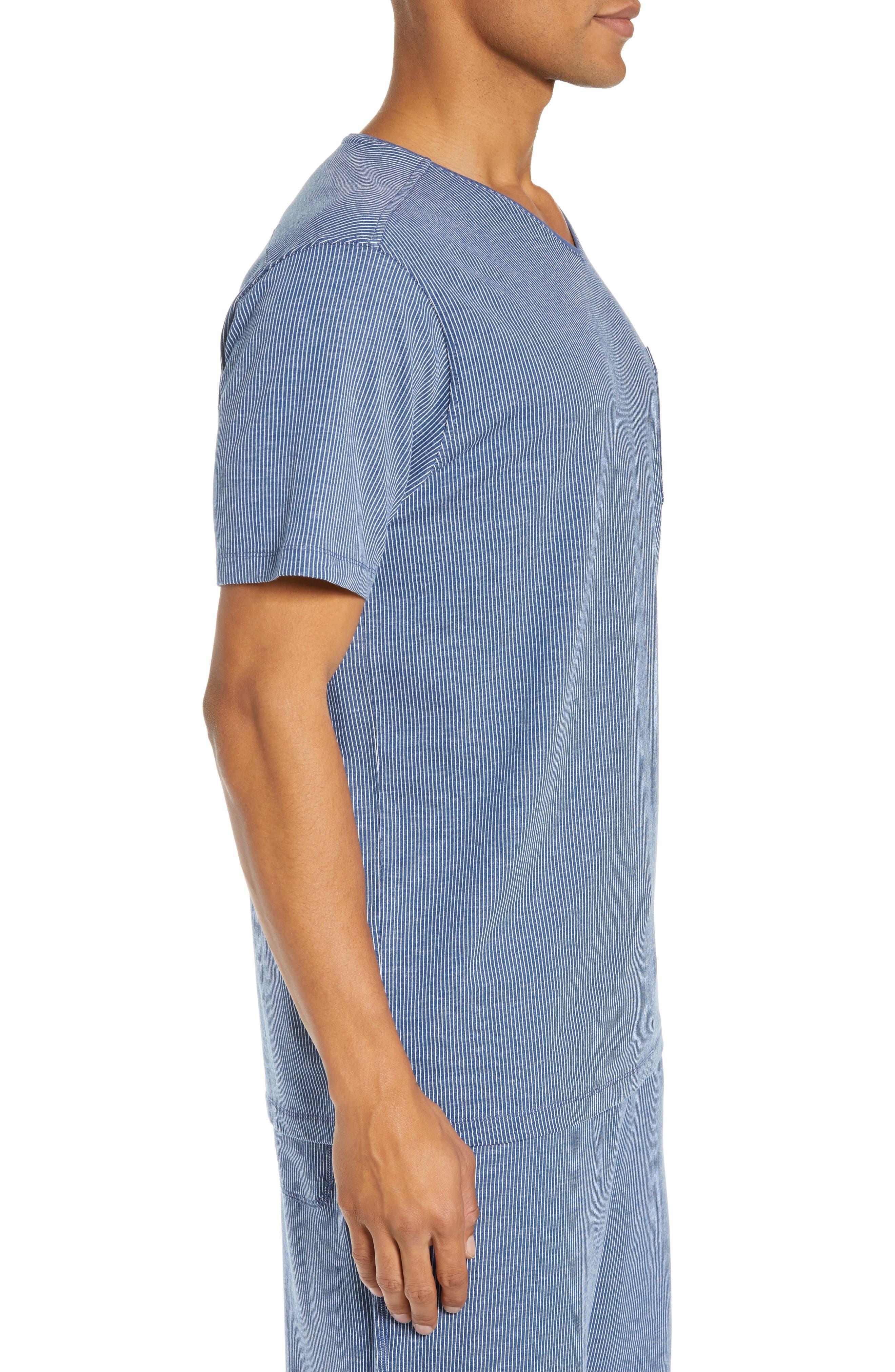 Pinstripe Sleep T-Shirt,                             Alternate thumbnail 3, color,                             BLUE