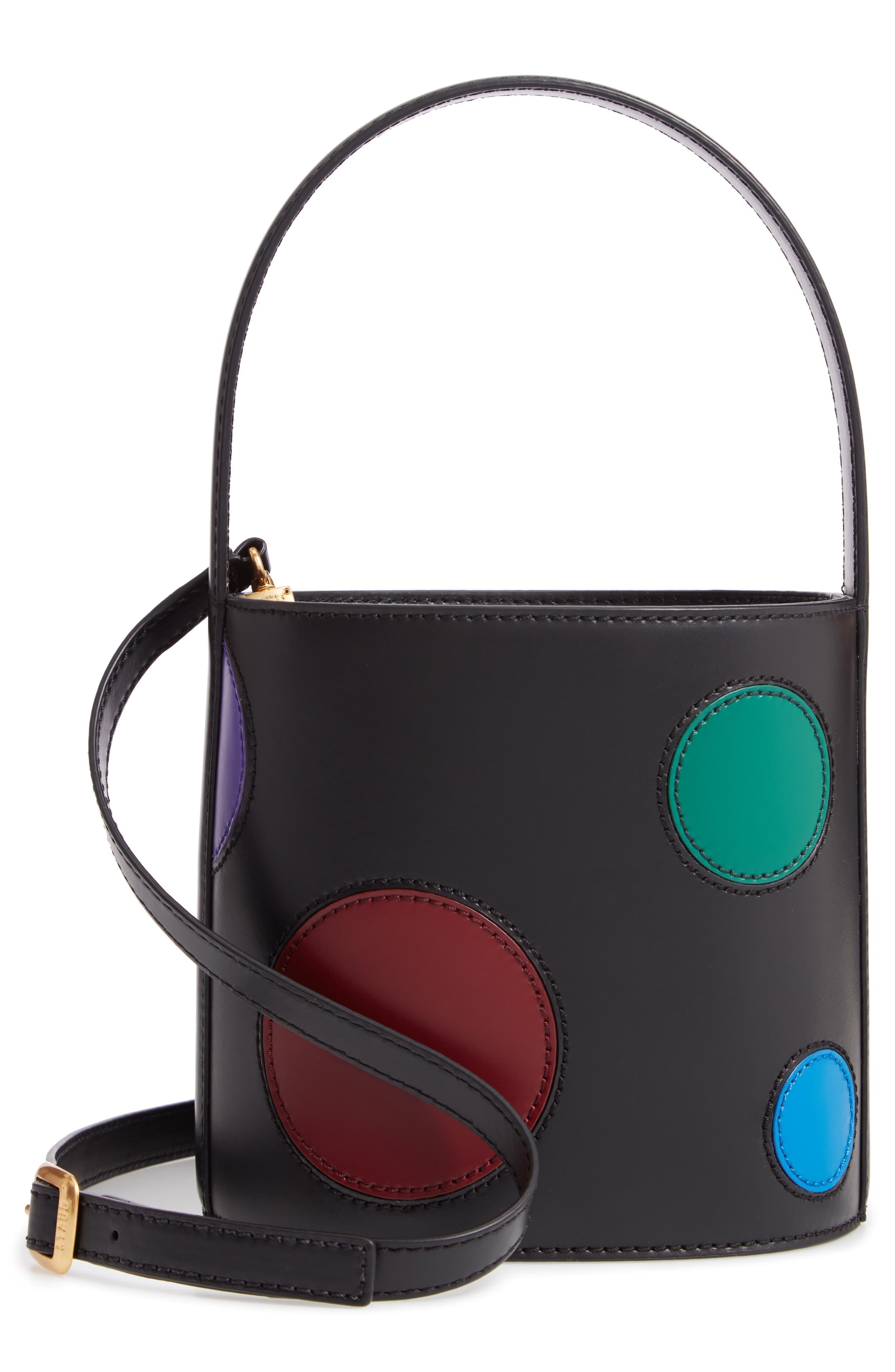 Bissett Dot Leather Bucket Bag - Black in Black/ Multi