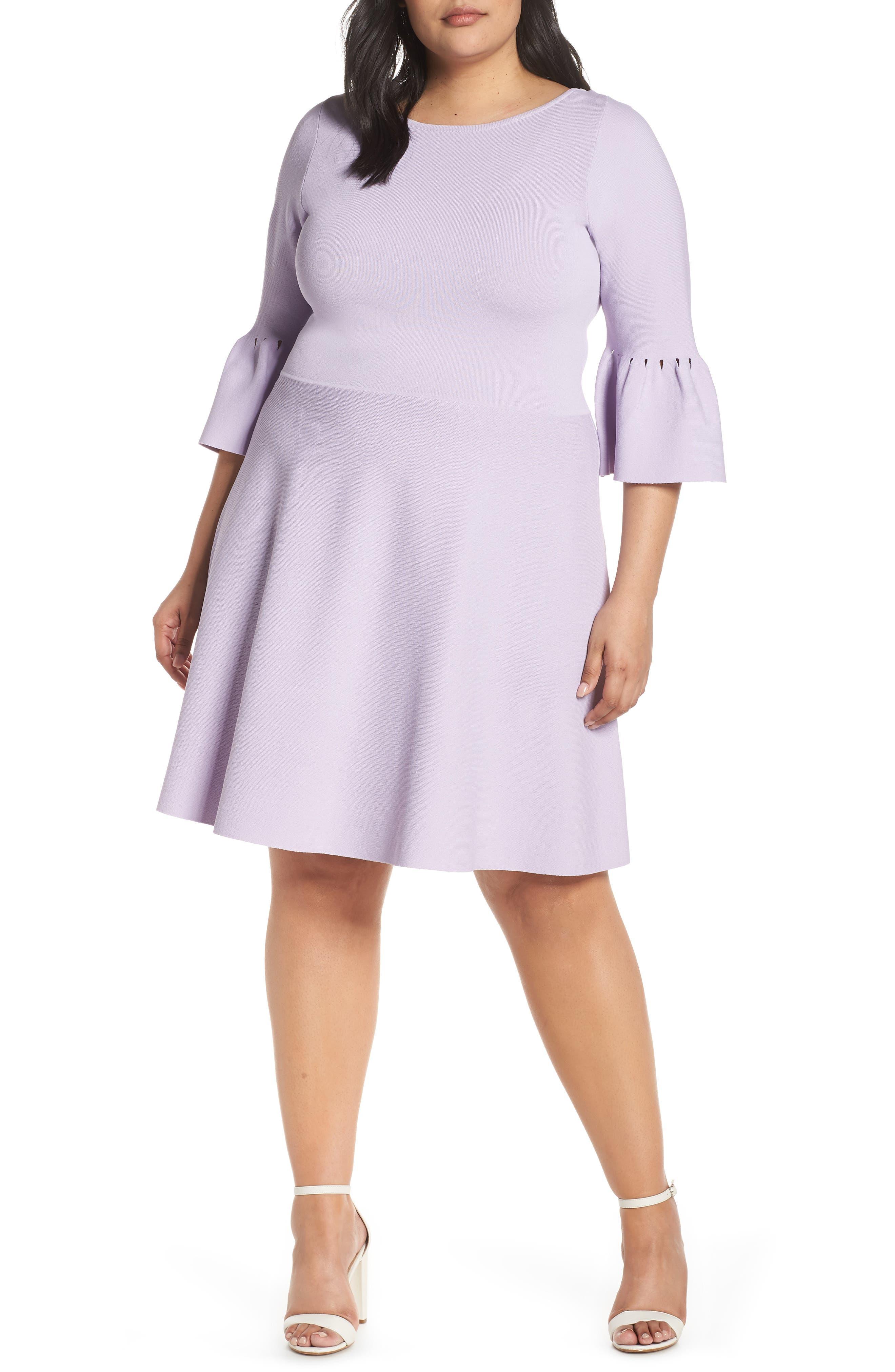 Plus Size Eliza J Bell Cuff Fit & Flare Sweater Dress, Purple