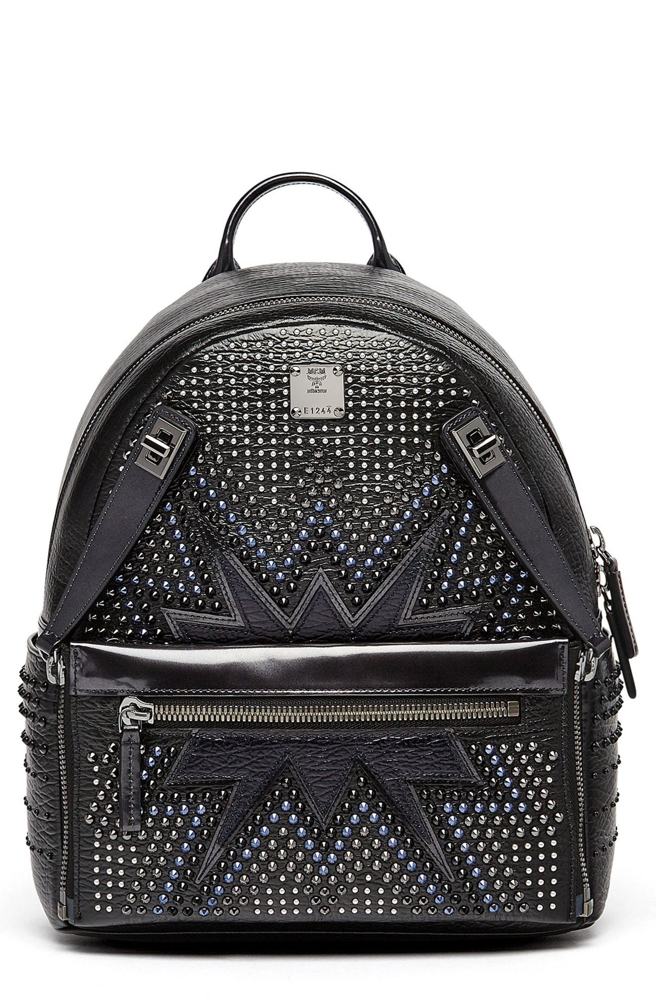 Dual Stark Studded Leather Backpack,                             Main thumbnail 1, color,                             001