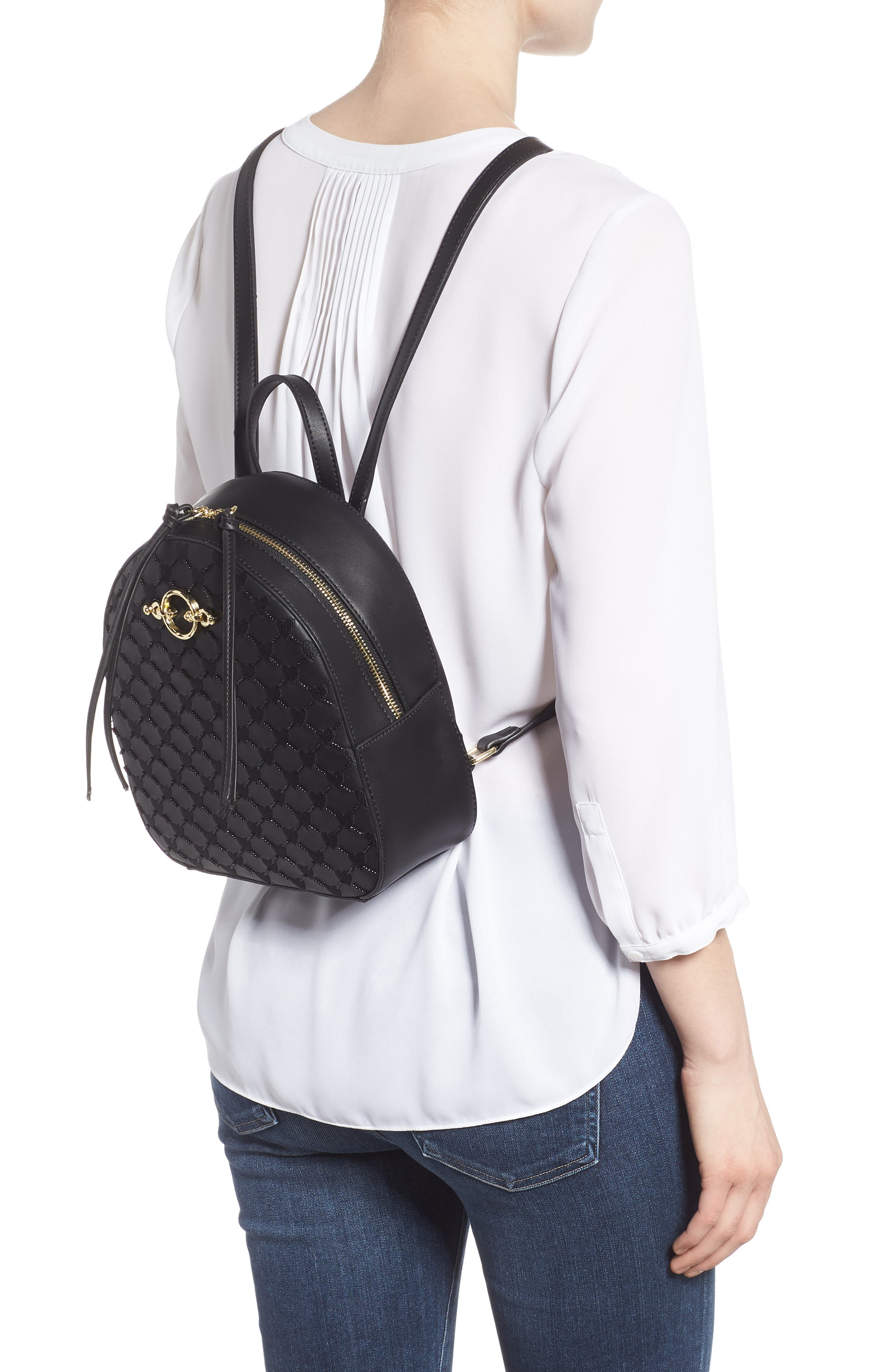 TOPSHOP,                             Sweetheart Beaded Backpack,                             Alternate thumbnail 2, color,                             001