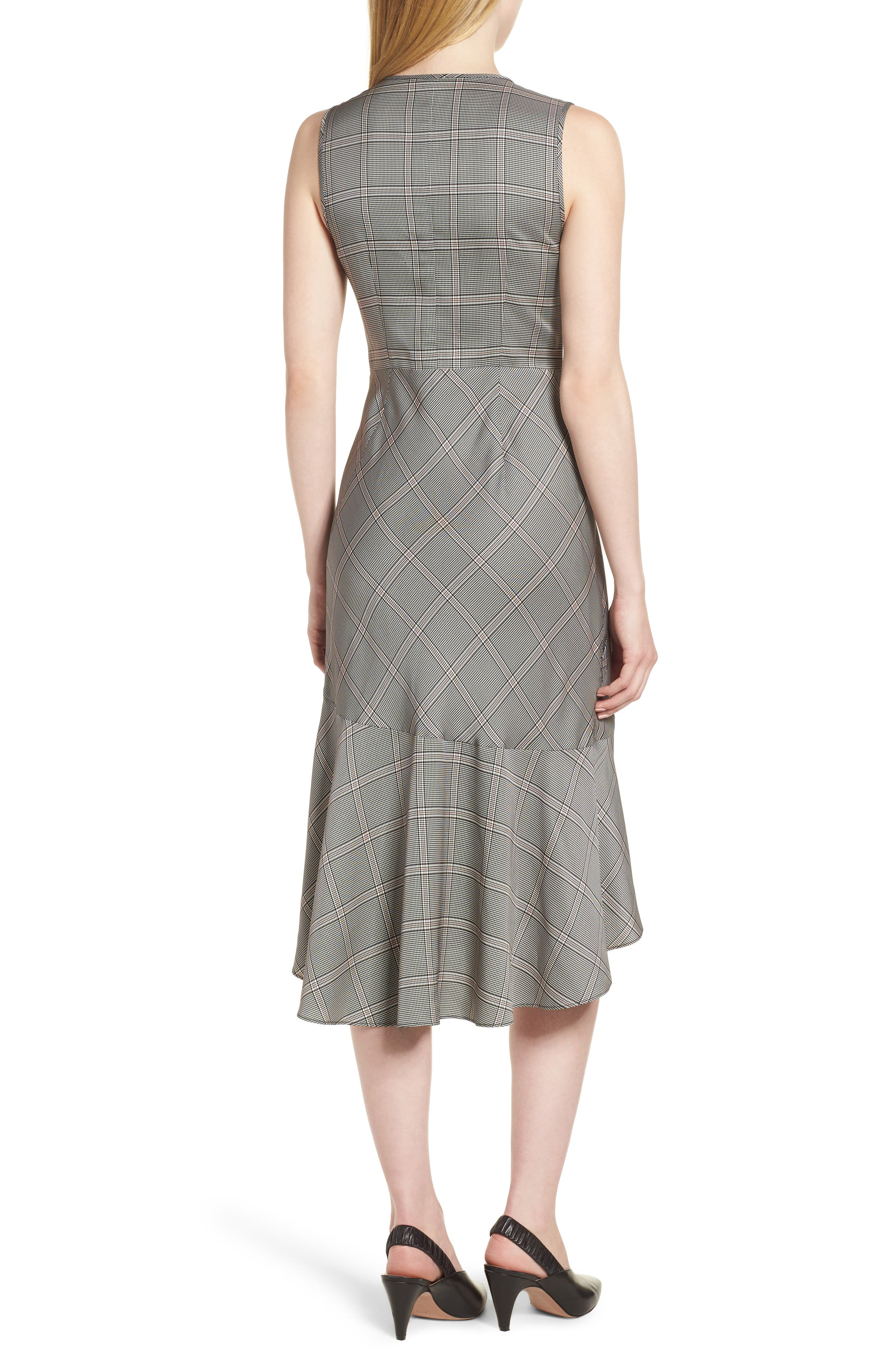 Seam Detail Sleeveless Check Dress,                             Alternate thumbnail 2, color,                             001