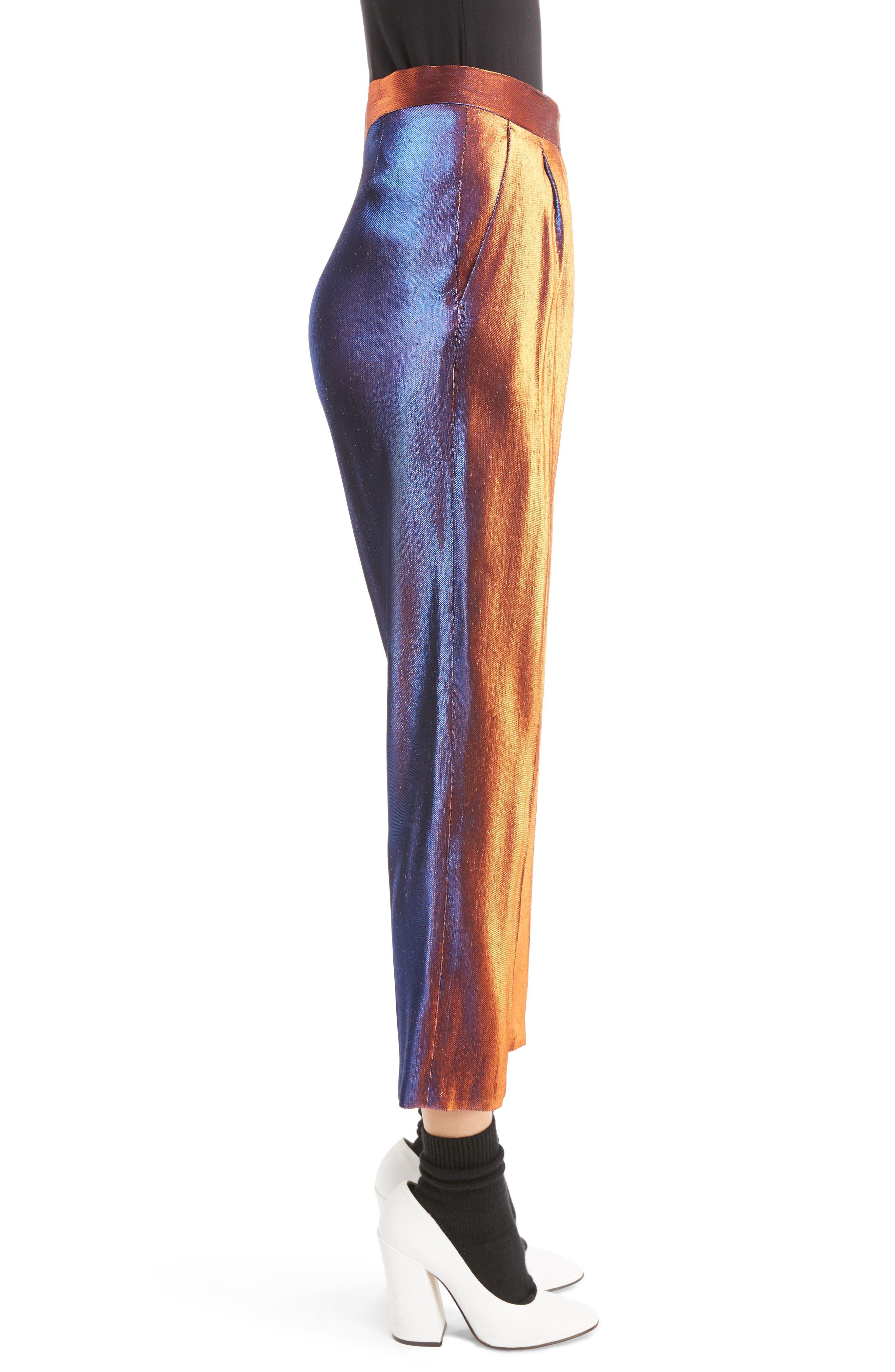 Two-Tone Lamé Crop Trousers,                             Alternate thumbnail 3, color,                             800