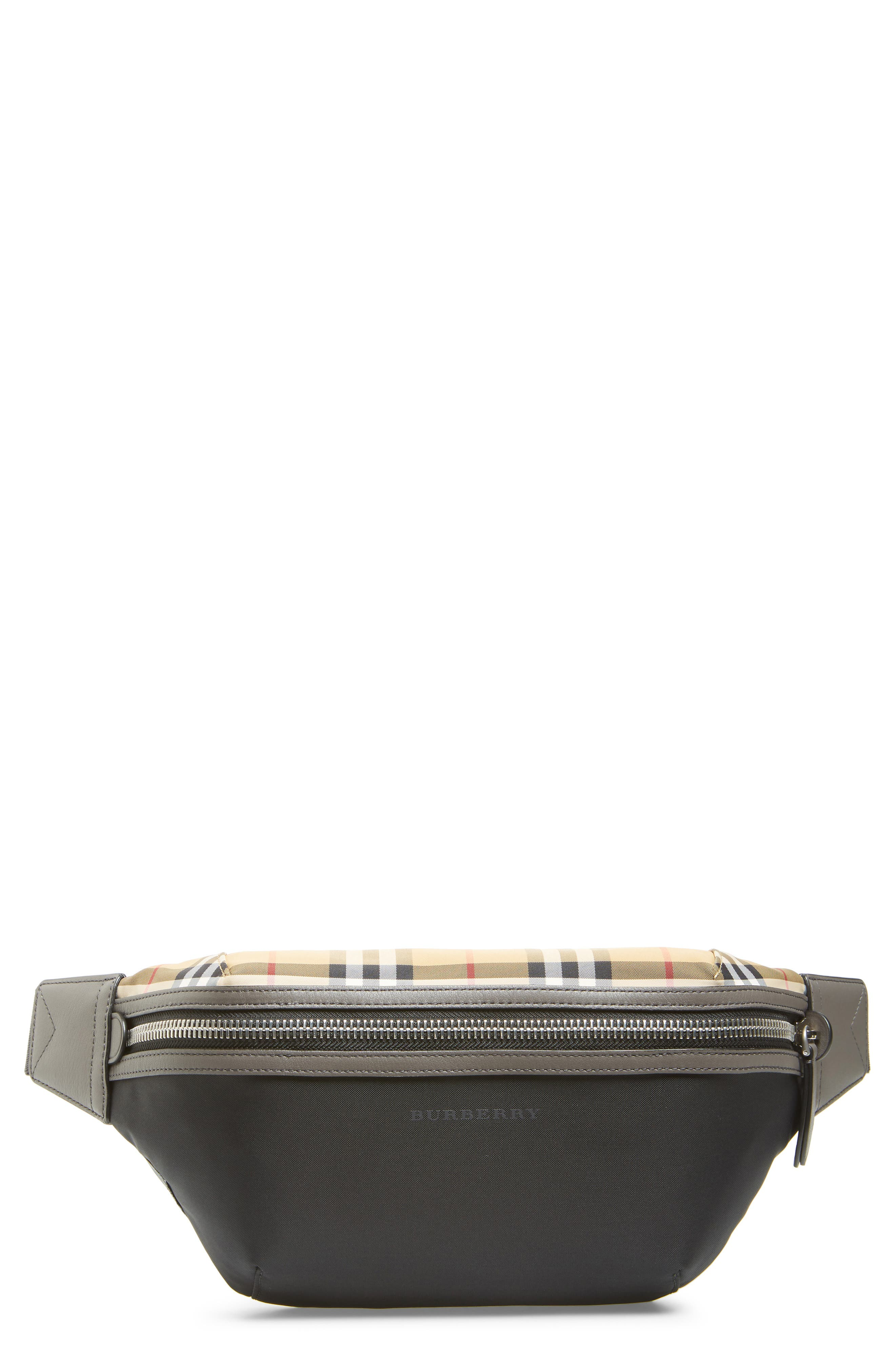 Vintage Check Waist Pack, Main, color, BLACK
