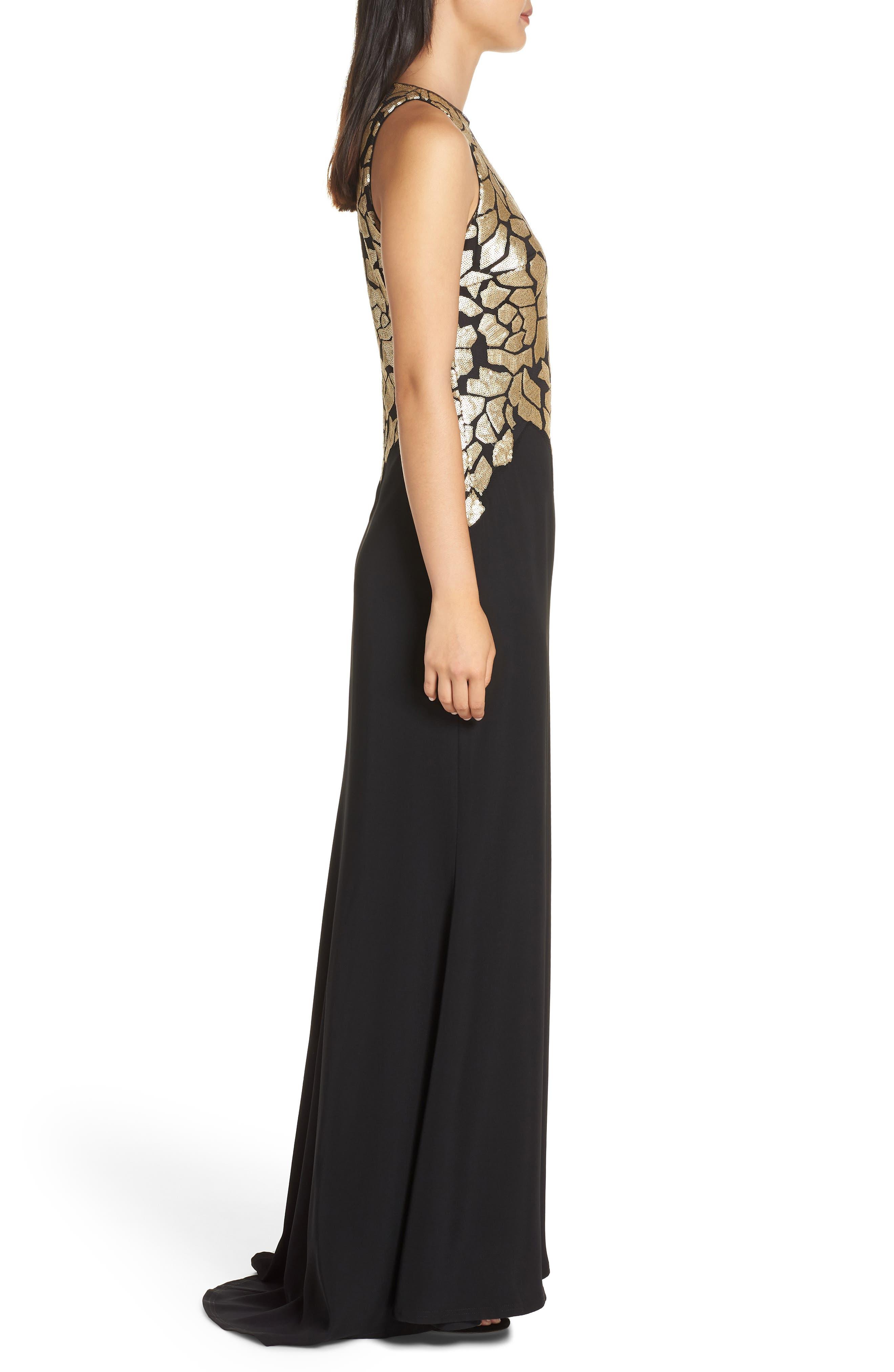Sleeveless Sequin & Crepe Gown,                             Alternate thumbnail 3, color,                             BLACK/ GOLD