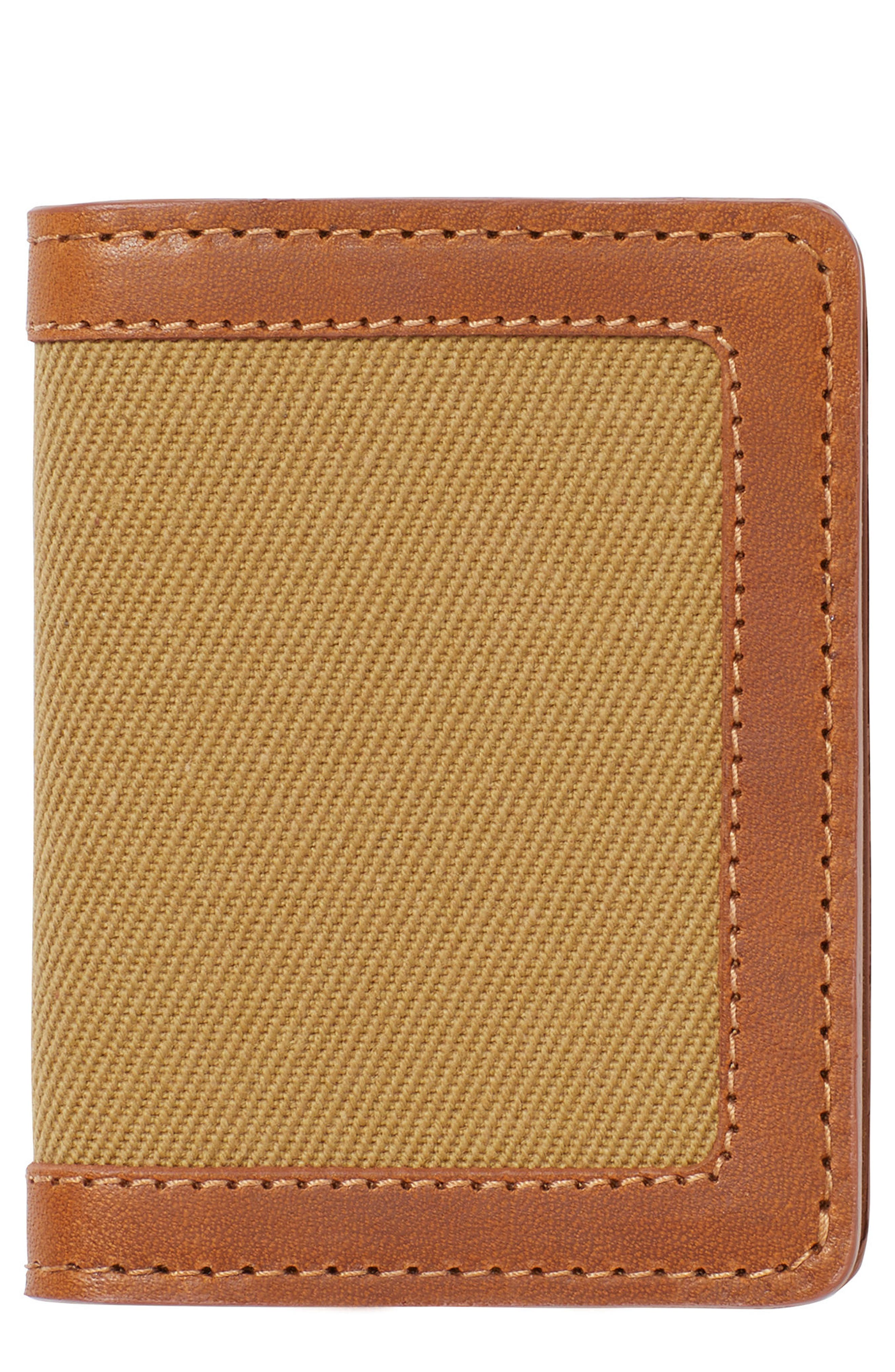 Outfitter Leather & Canvas Card Case,                         Main,                         color, TAN