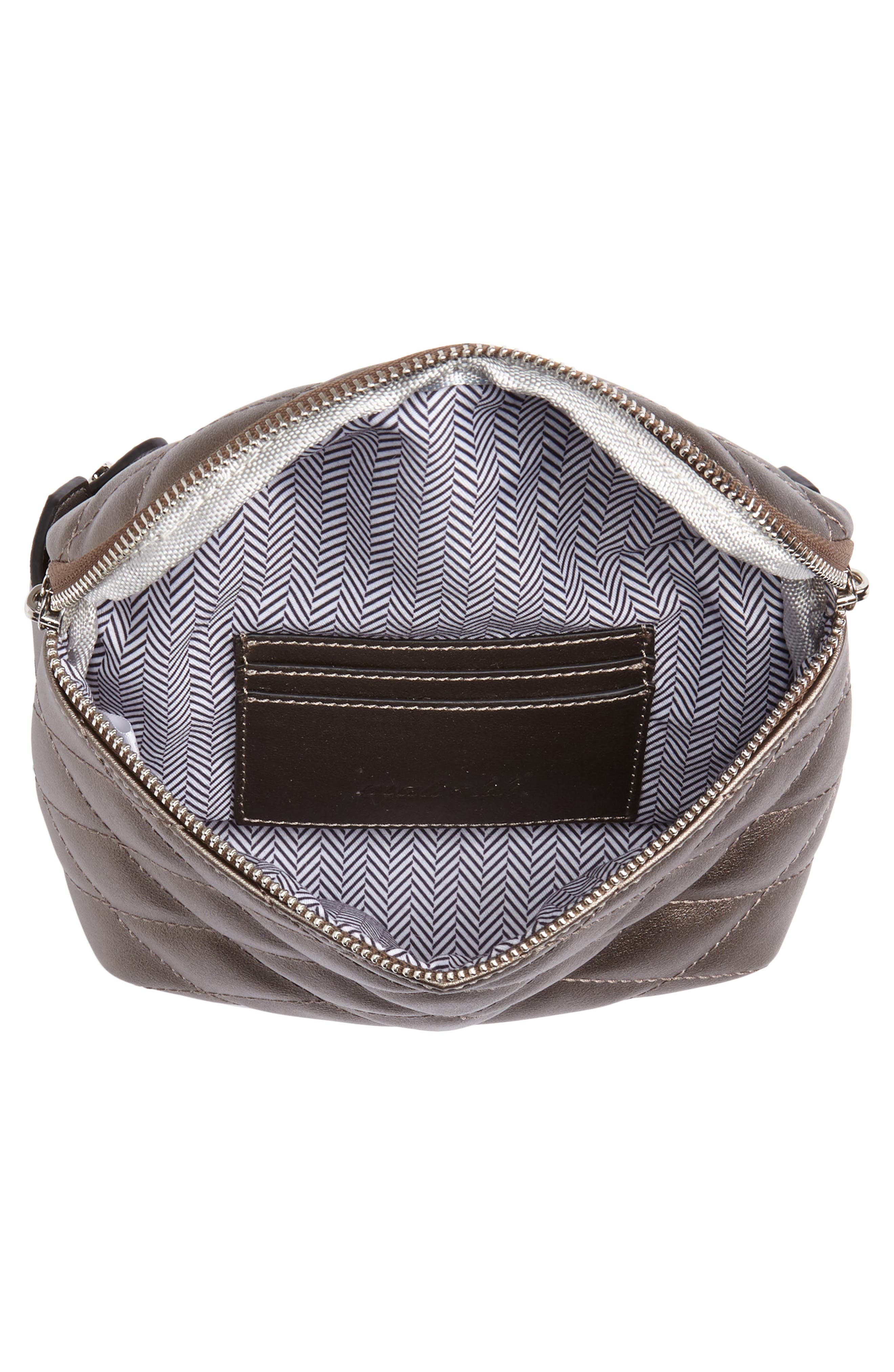 MALI + LILI,                             Faye Vegan Leather Quilted Belt Bag,                             Alternate thumbnail 5, color,                             PEWTER