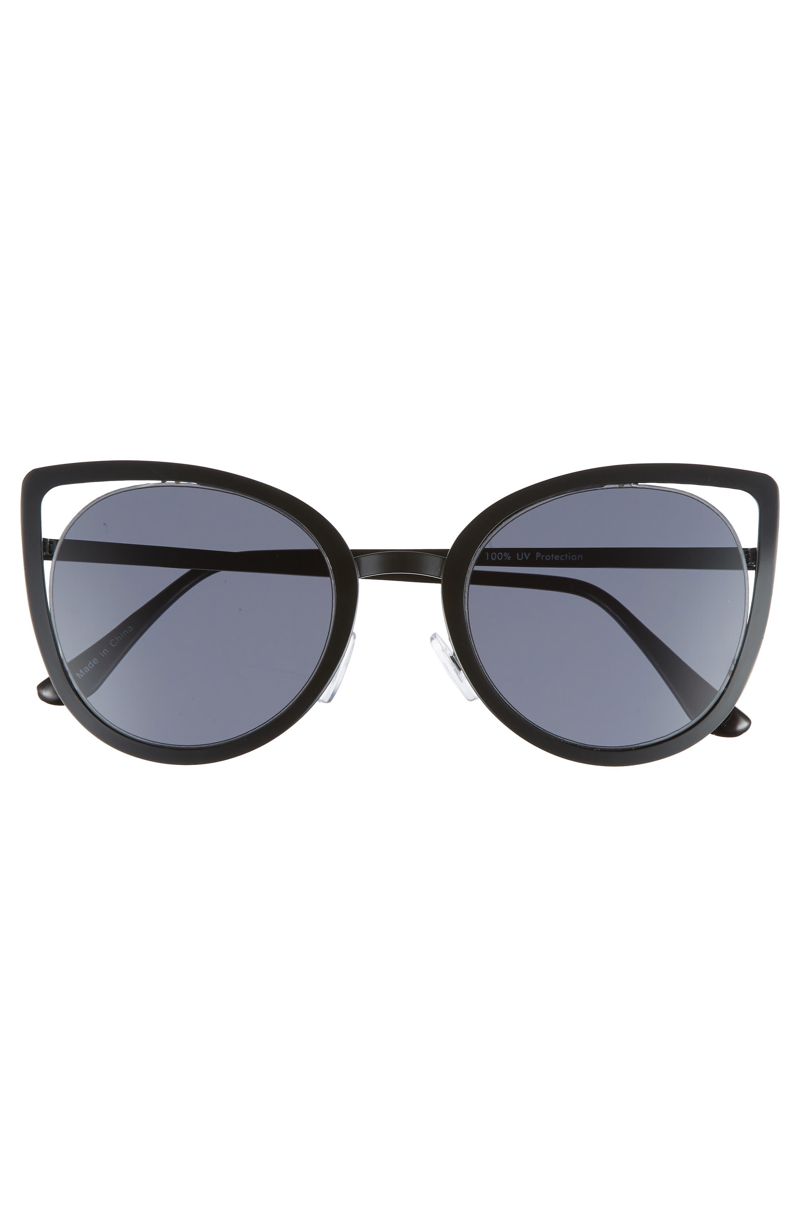 53mm Cutout Cat Eye Sunglasses,                             Alternate thumbnail 3, color,                             001