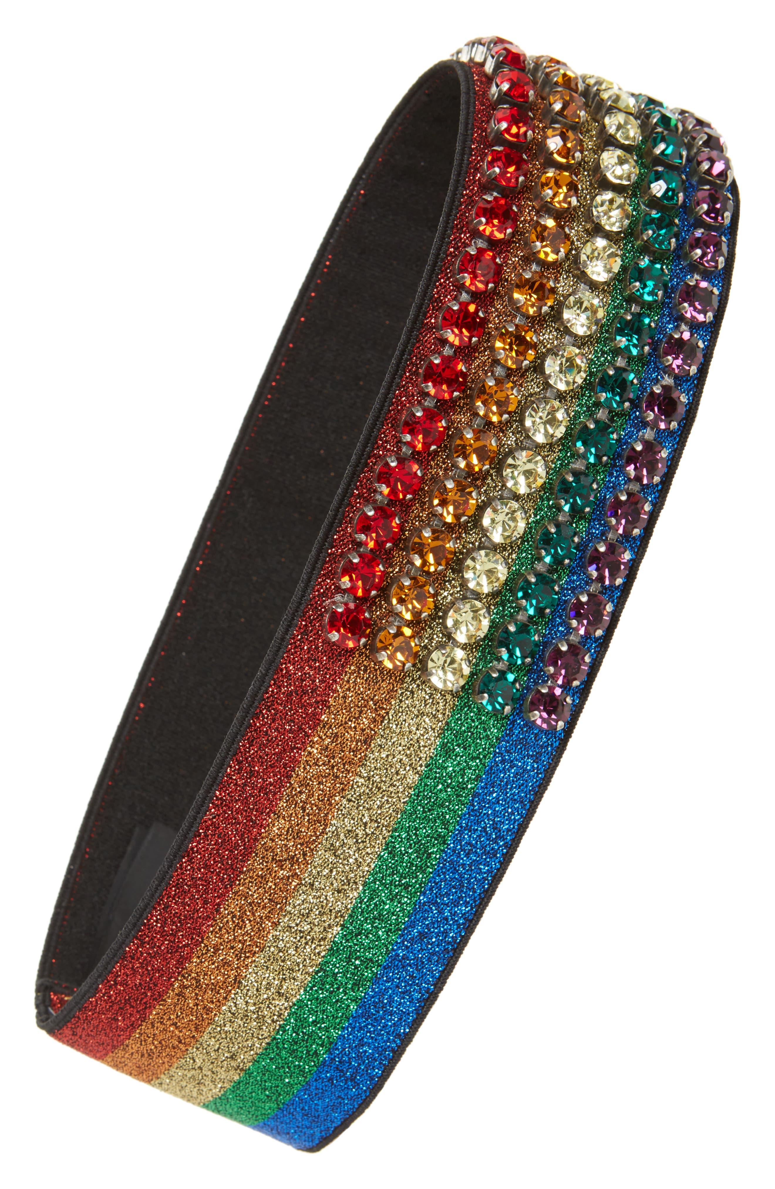 Webby Rainbow Crystal Headband,                         Main,                         color,