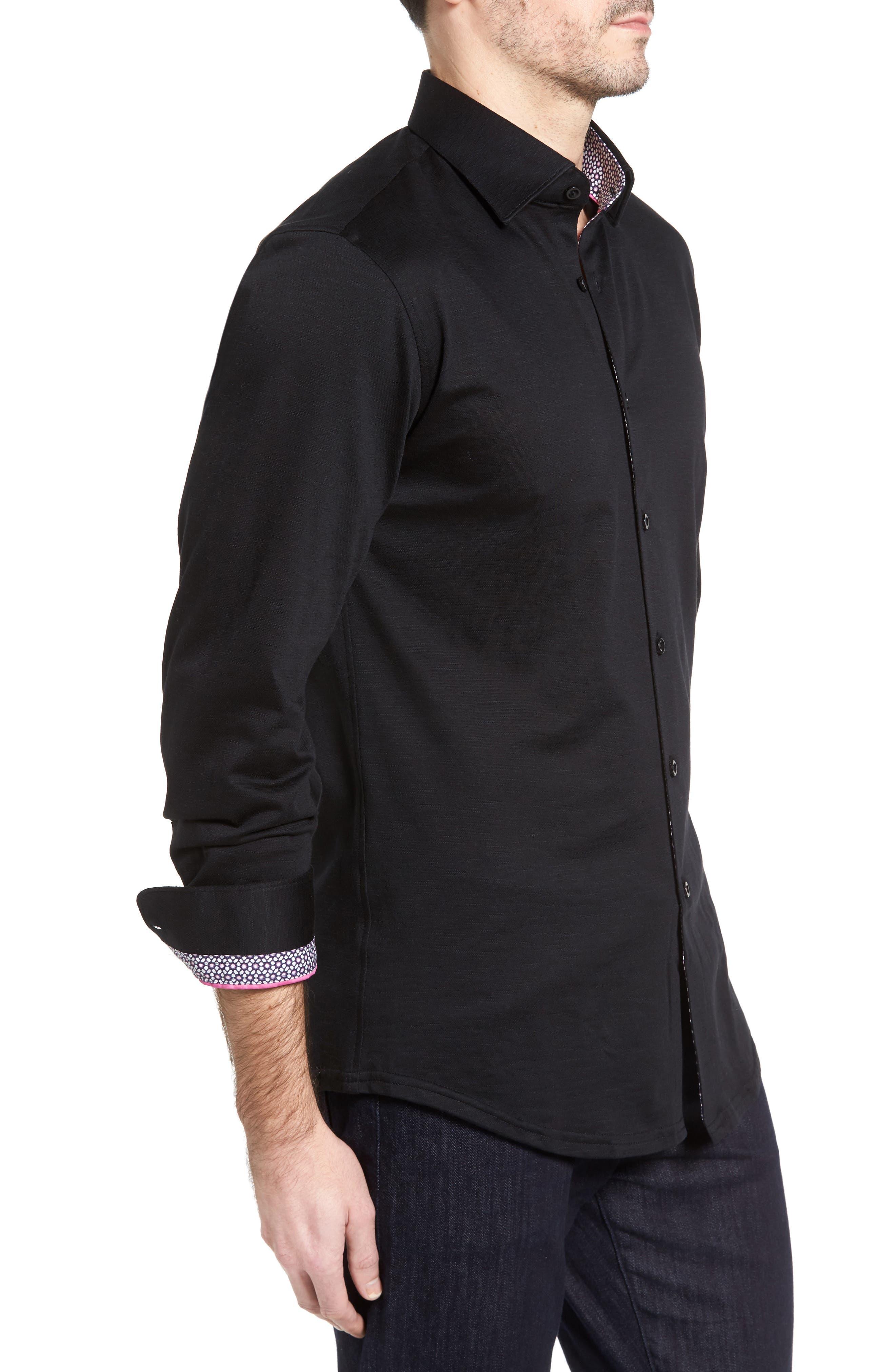 Flamé Knit Sport Shirt,                             Alternate thumbnail 3, color,                             001