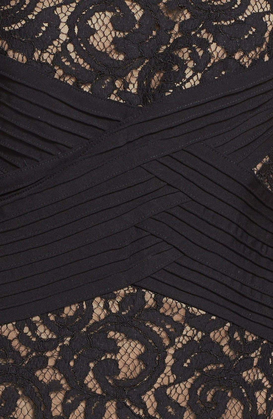 Crisscross Waist Lace Sheath Dress,                             Alternate thumbnail 4, color,                             004