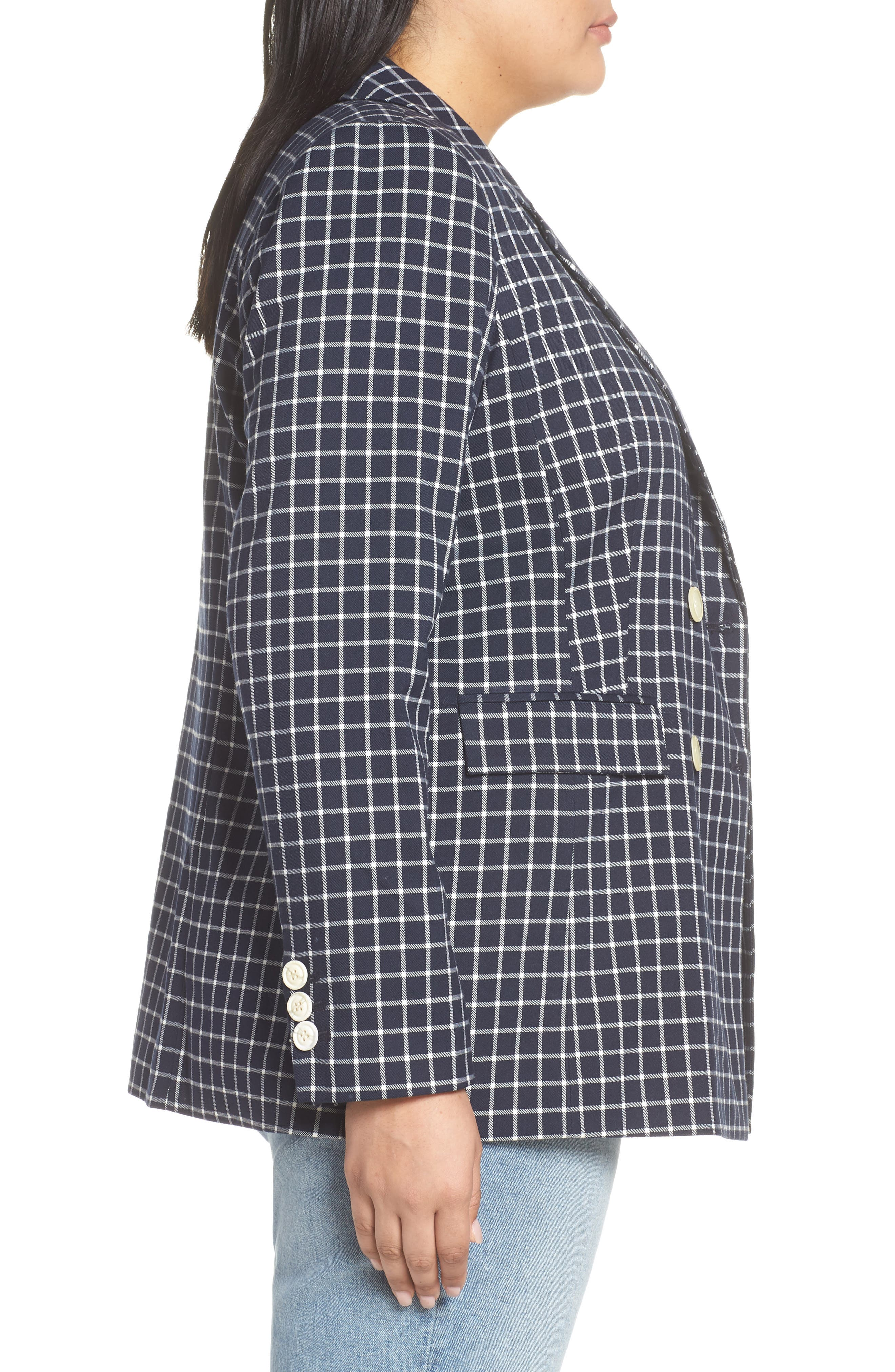 HALOGEN<SUP>®</SUP>,                             Double Breasted Check Blazer,                             Alternate thumbnail 3, color,                             NAVY CHECK