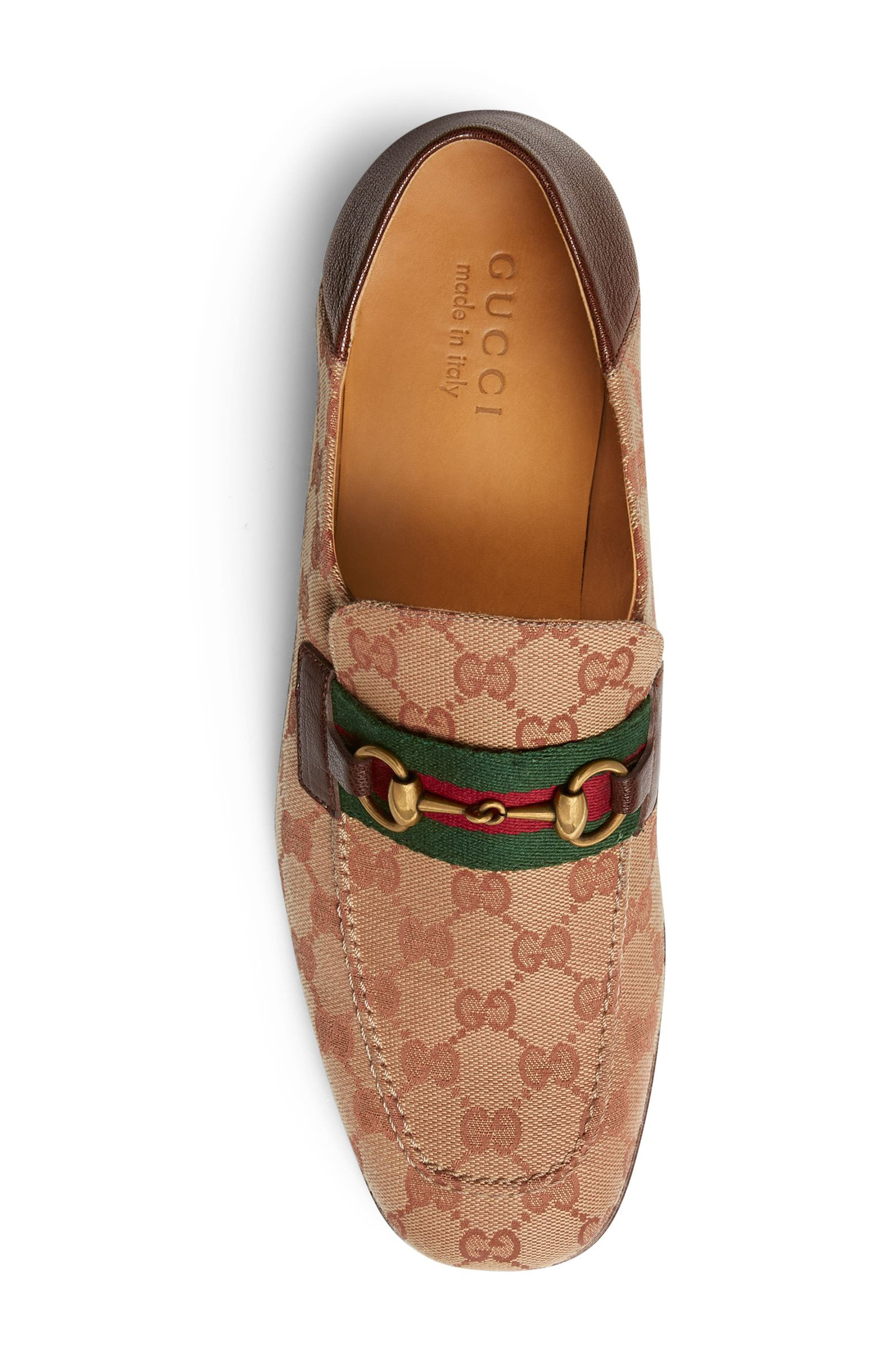 GUCCI,                             Horsebit Collapsible Leather Loafer,                             Alternate thumbnail 4, color,                             BEIGE/ ROSE
