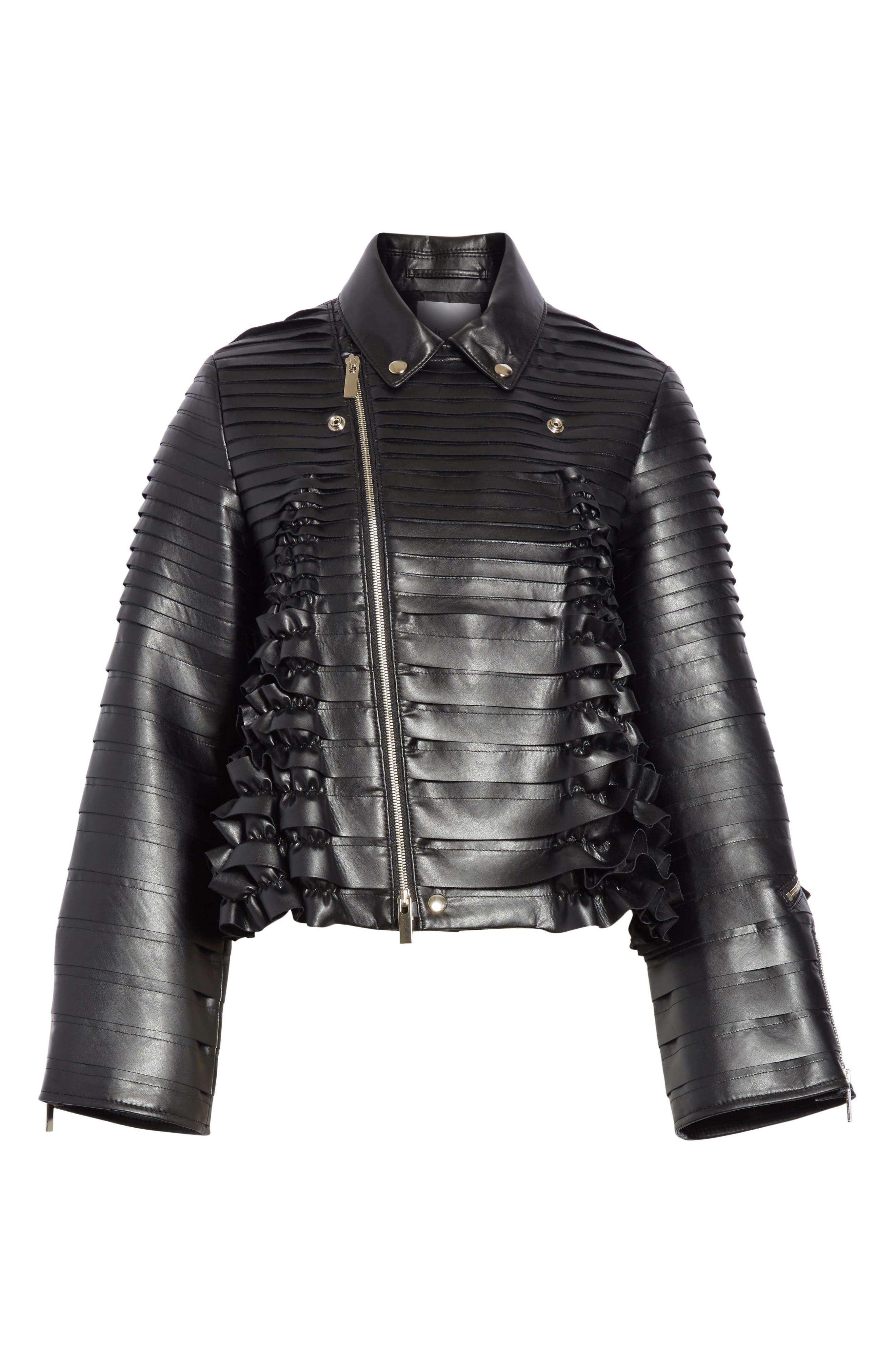 Ribbon Faux Leather Jacket,                             Alternate thumbnail 5, color,                             001