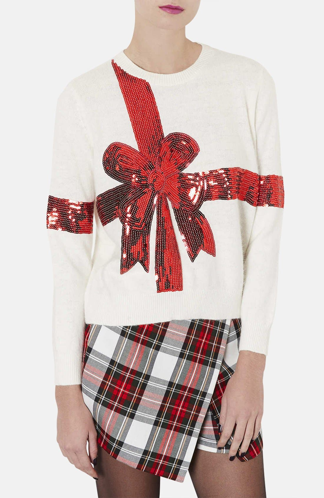 'Present' Sequin Ribbon Sweater,                             Main thumbnail 1, color,                             900