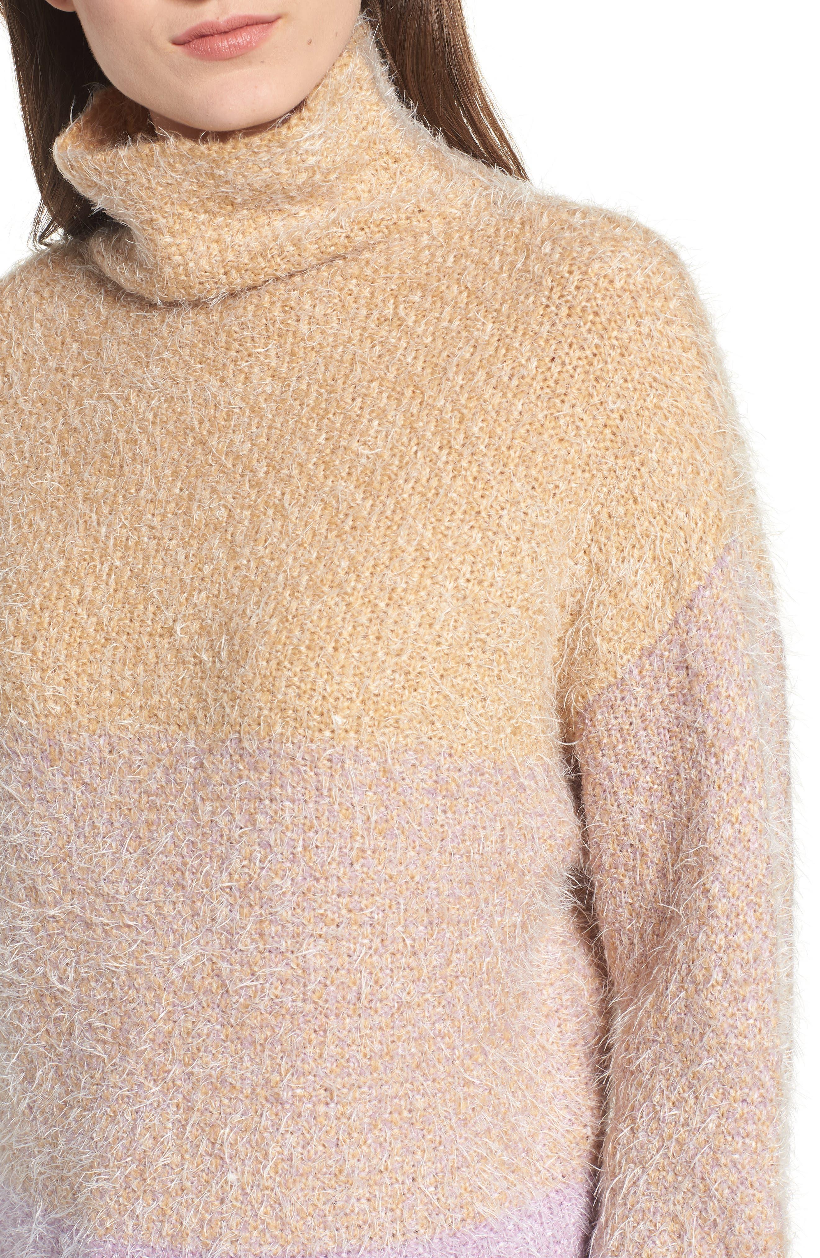 Ombré Eyelash Sweater,                             Alternate thumbnail 4, color,                             PINK AMOUR