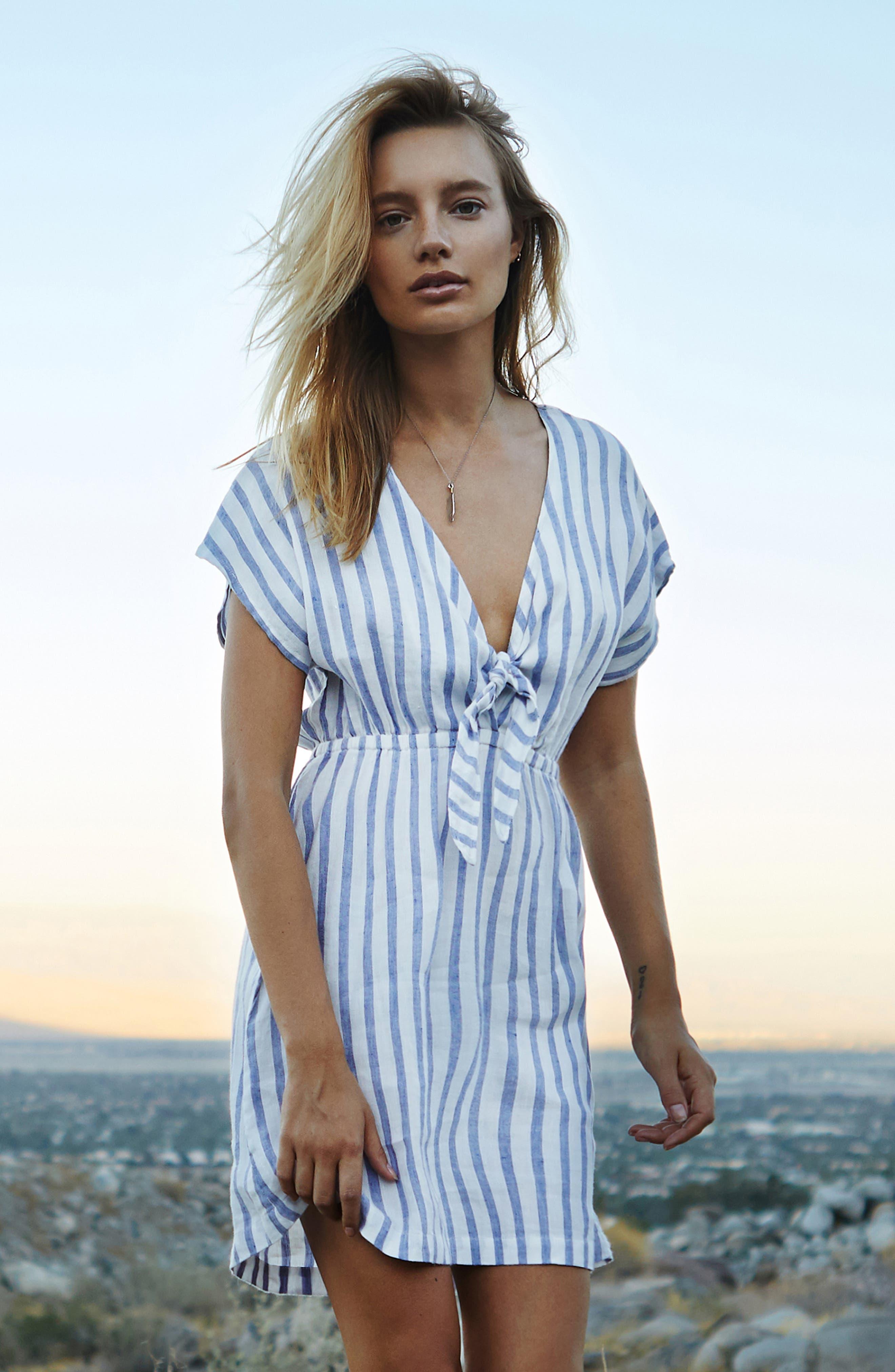 Stripe Tie Front Dress,                             Alternate thumbnail 8, color,                             GRENADINES STRIPE
