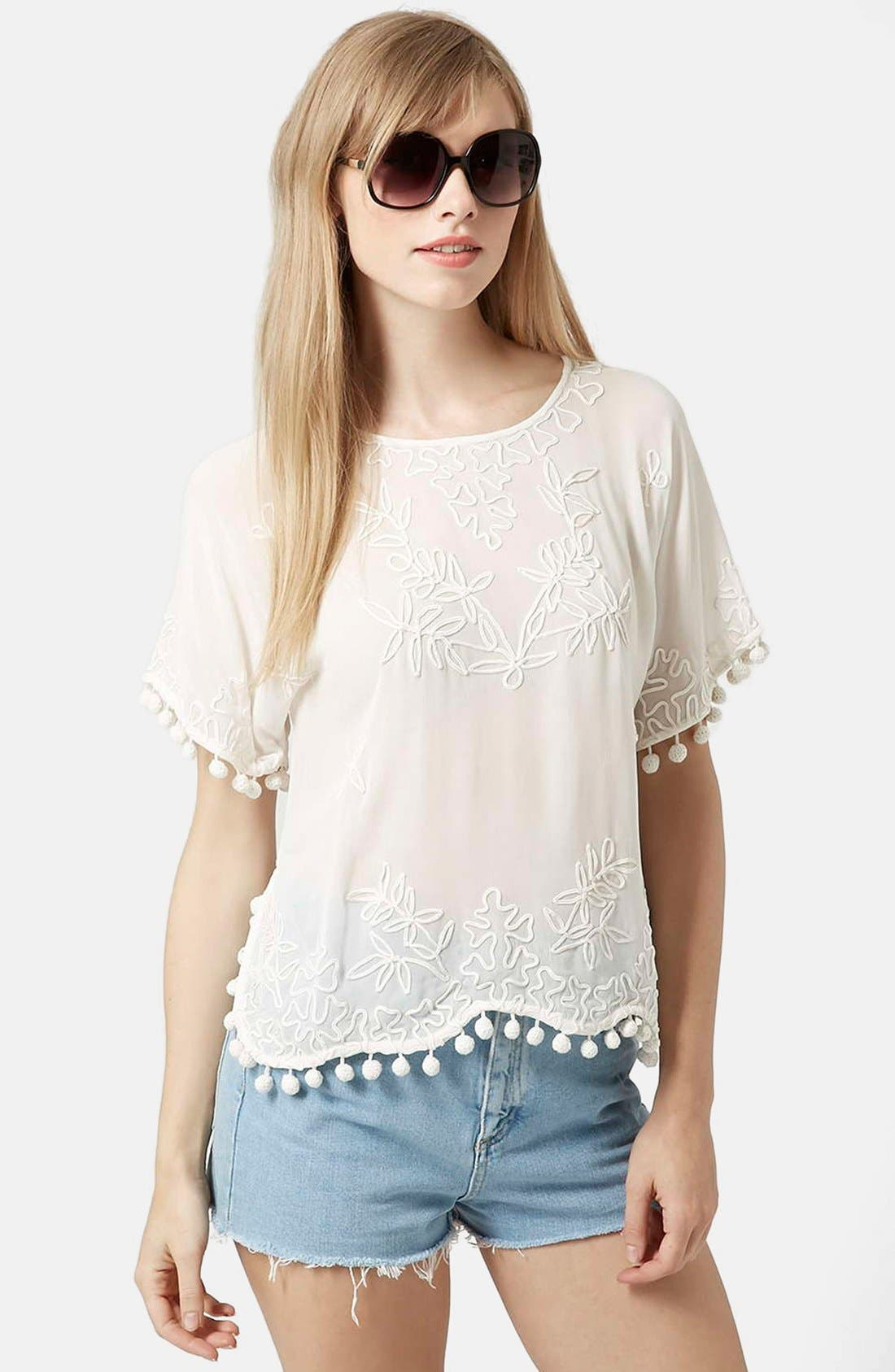 Pompom Tee,                             Main thumbnail 1, color,                             900