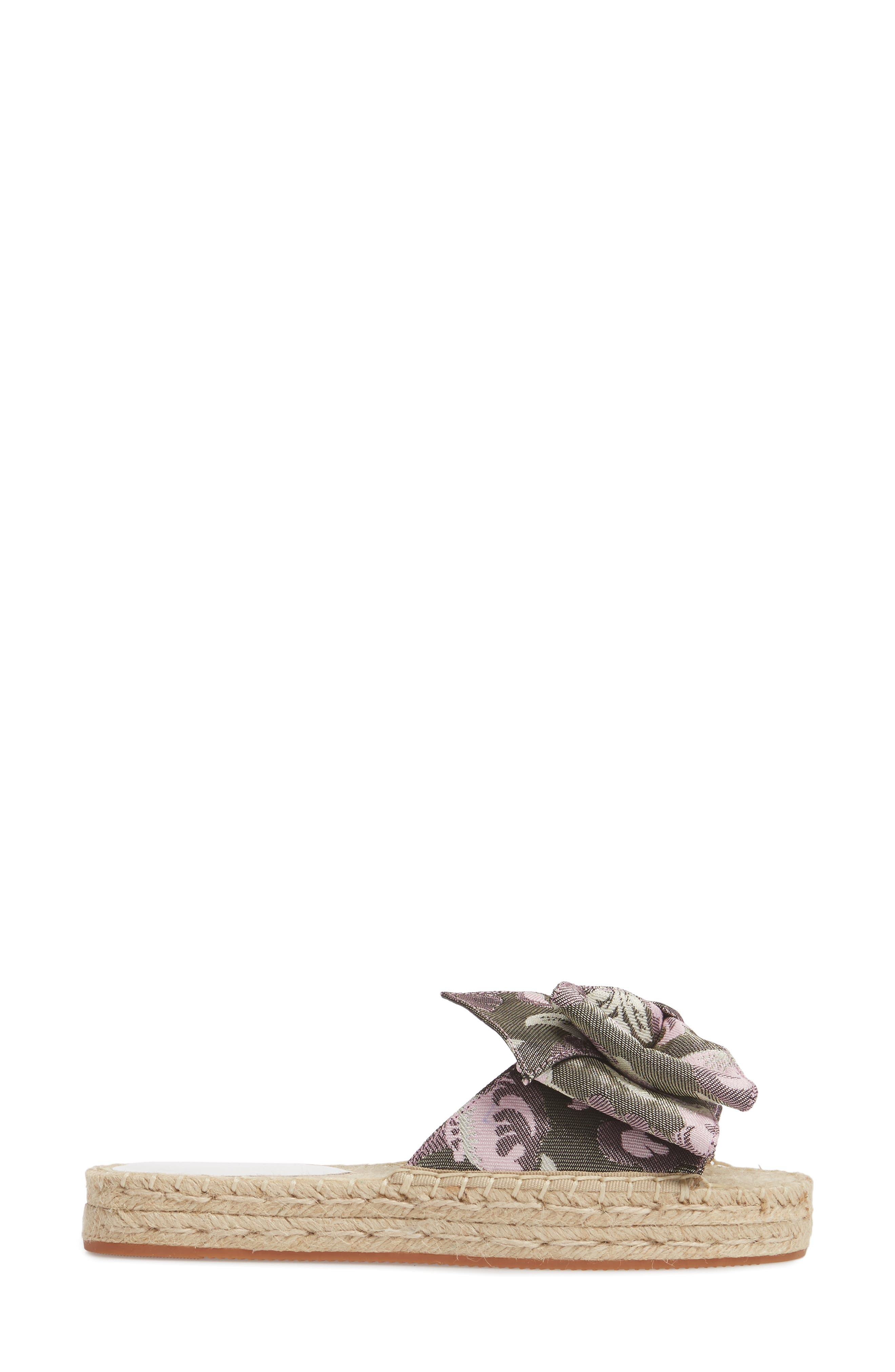 Giana Bow Slide Sandal,                             Alternate thumbnail 3, color,                             GREEN MULTI JACQUARD