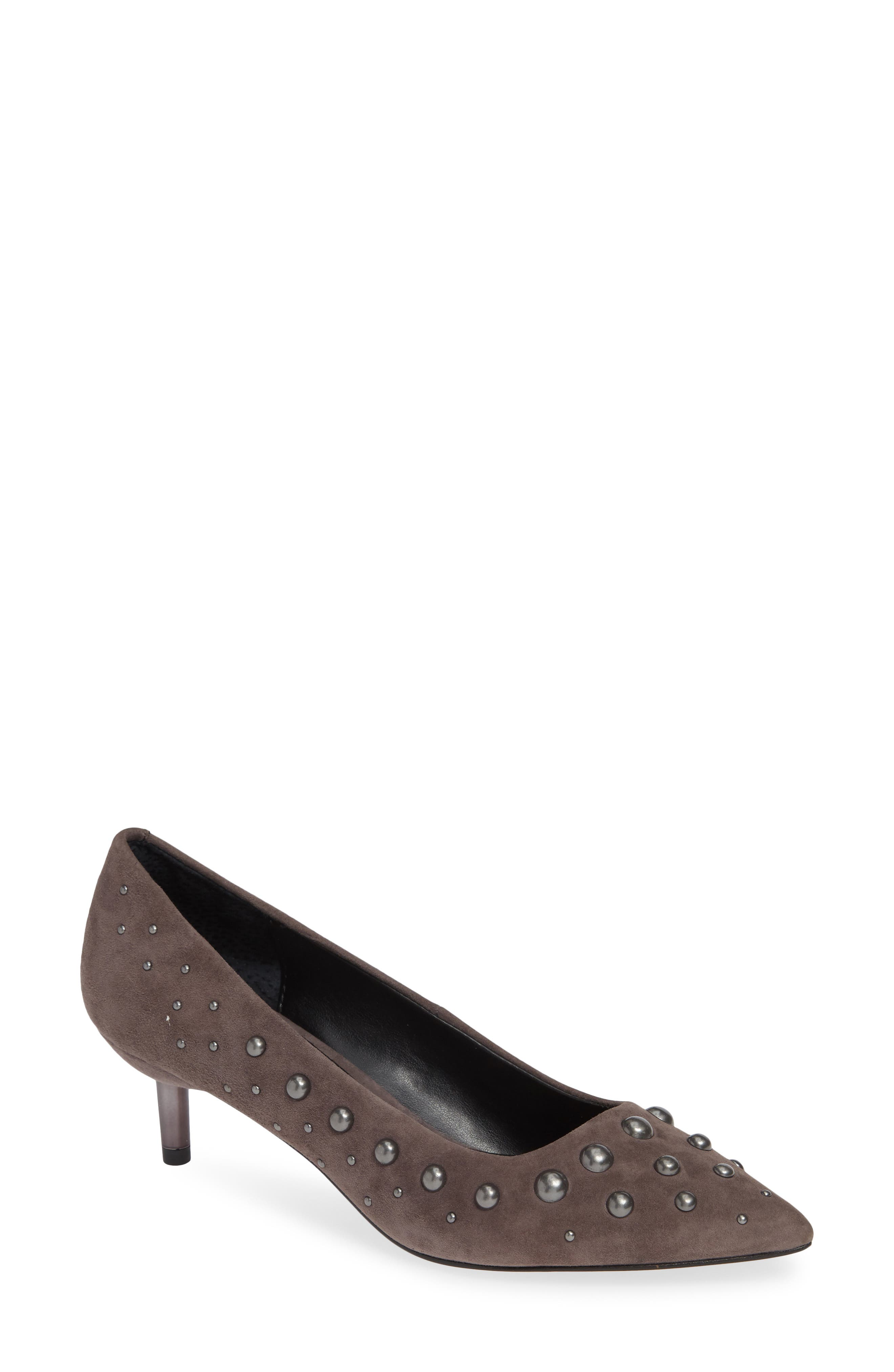 Bazie Studded Pump,                             Main thumbnail 1, color,                             GREY SUEDE
