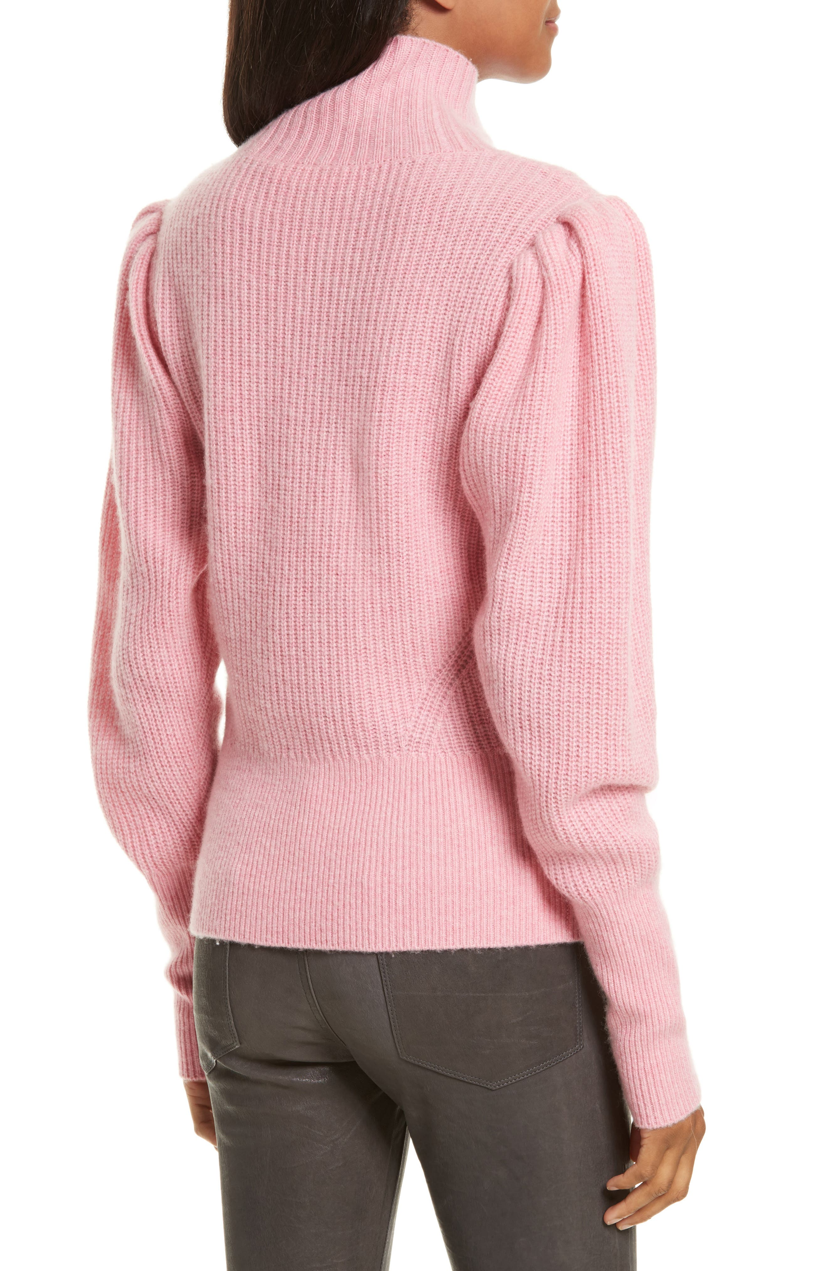 Wool & Cashmere Puff Sleeve Turtleneck Sweater,                             Alternate thumbnail 4, color,