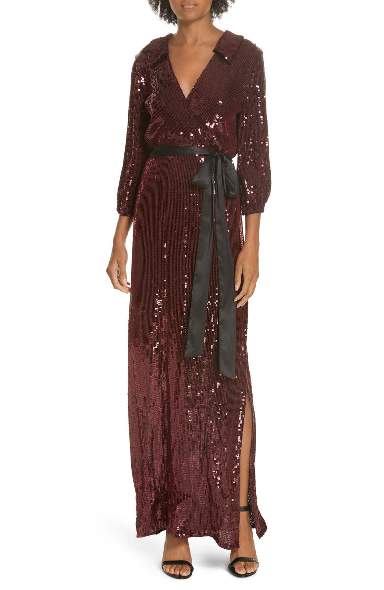 Bayley Sequin Maxi Shirtdress,                         Main,                         color, BORDEAUX/ BLACK