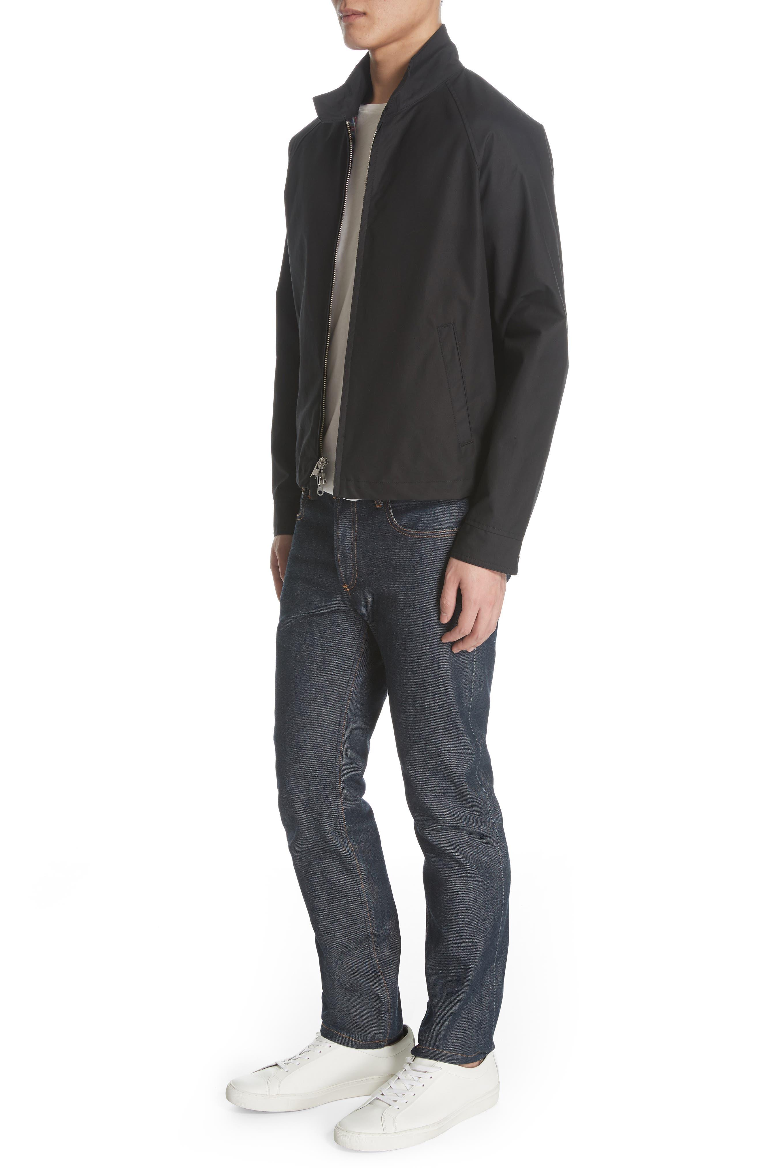 Harrington Waxed Cotton Jacket,                             Alternate thumbnail 4, color,                             BLACK