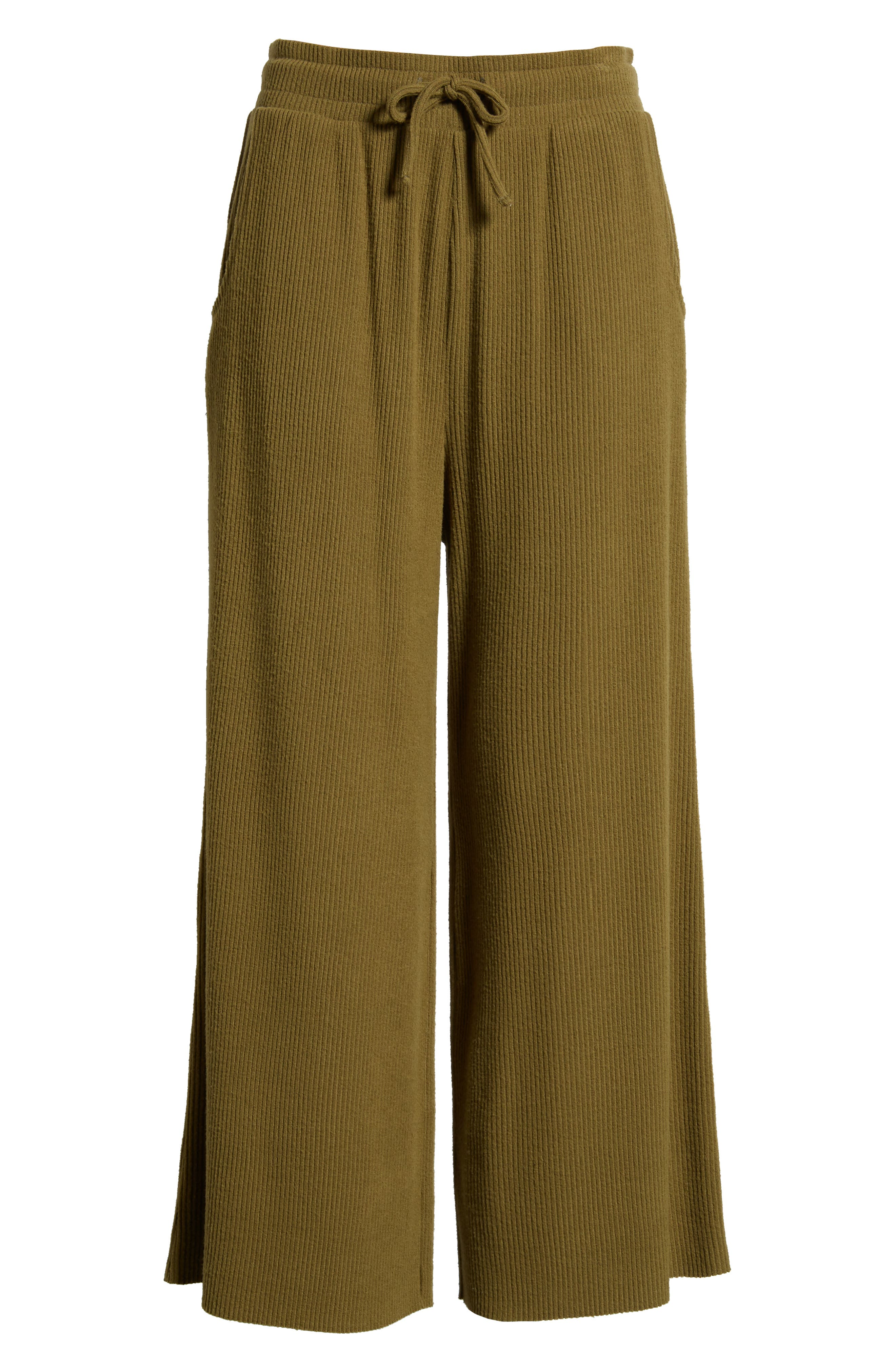 Ribbed Wide Leg Crop Pants,                             Alternate thumbnail 7, color,                             OLIVE ITALY