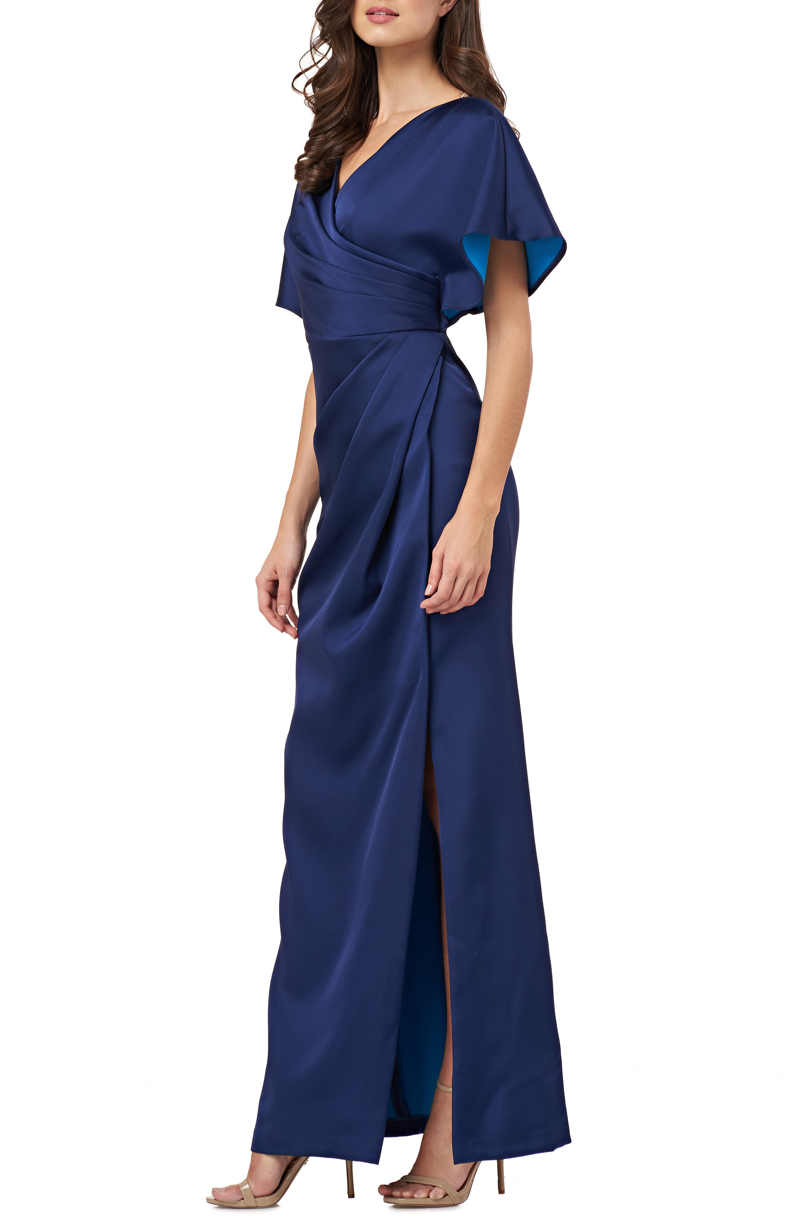 Js Collections Faux Wrap Bonded Satin Gown, Blue