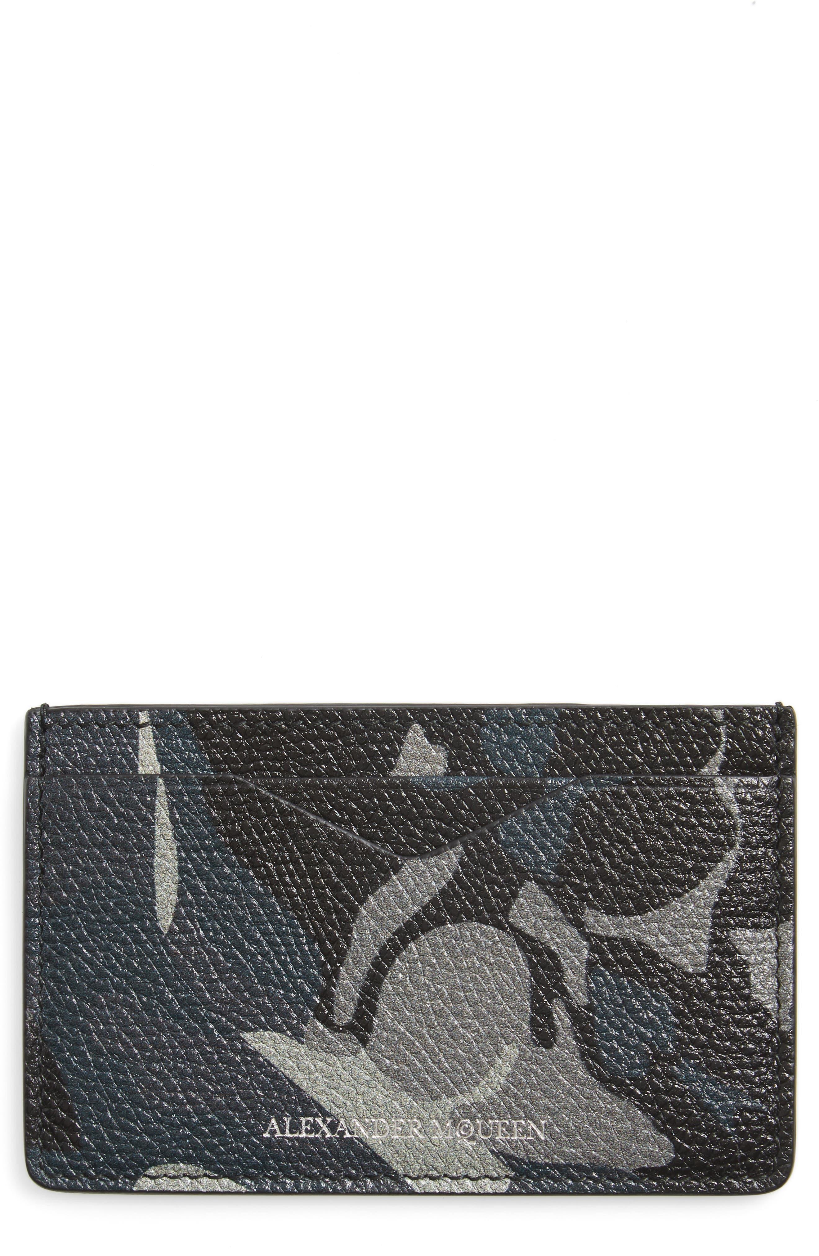 Camo Leather Card Case,                             Main thumbnail 1, color,                             001