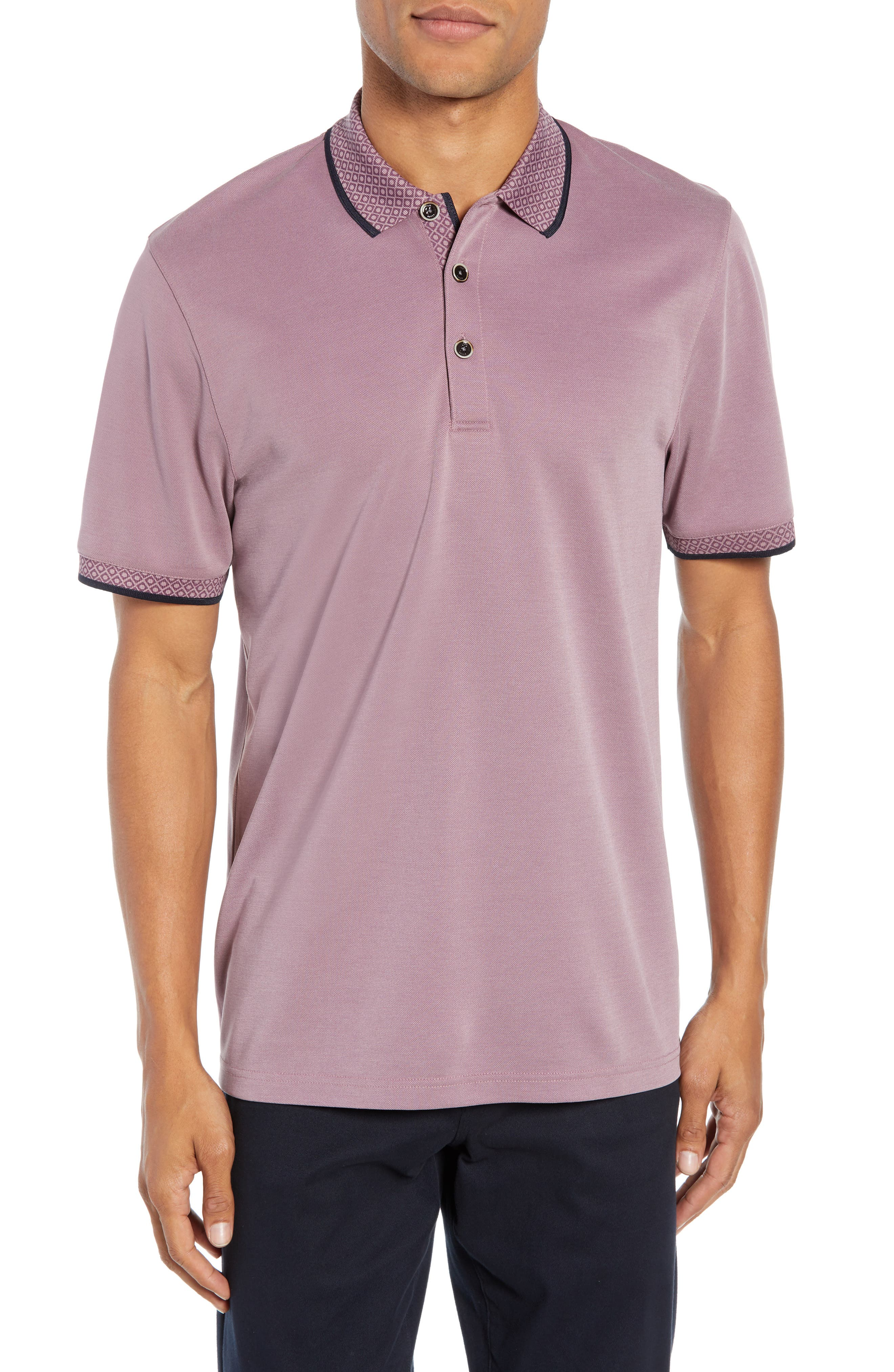 Slim Fit Belver Tipped Polo,                             Main thumbnail 1, color,                             PURPLE