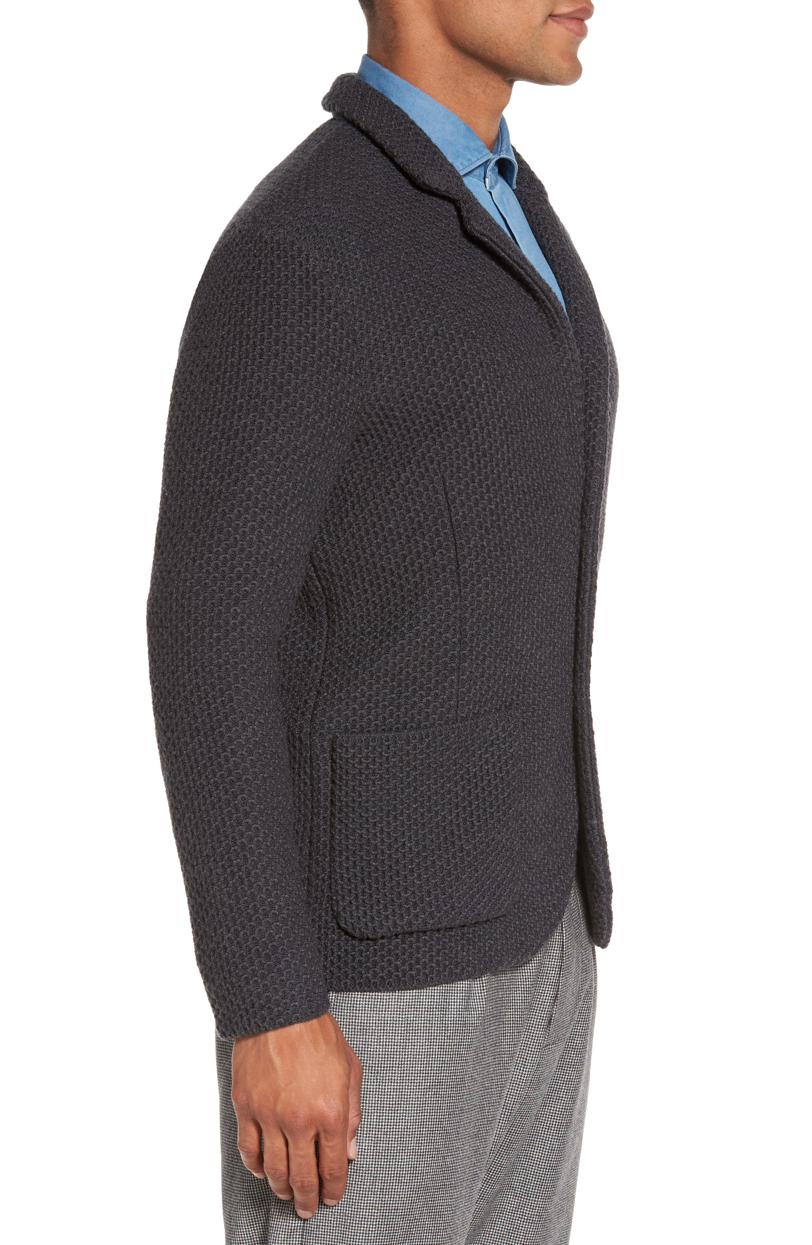 Textured Wool Sweater Jacket,                             Alternate thumbnail 3, color,