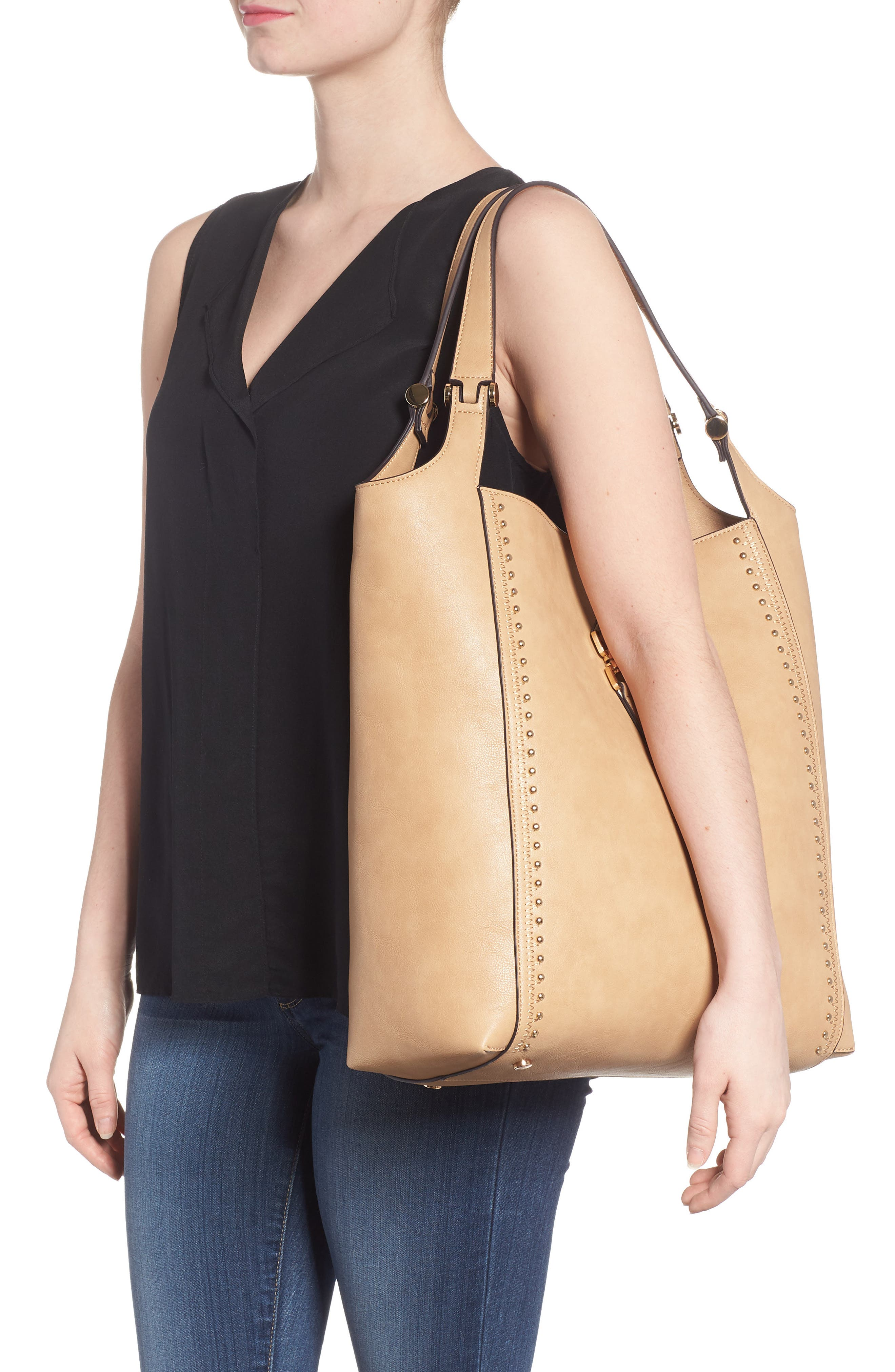 Large Studded Faux Leather Tote,                             Alternate thumbnail 4, color,